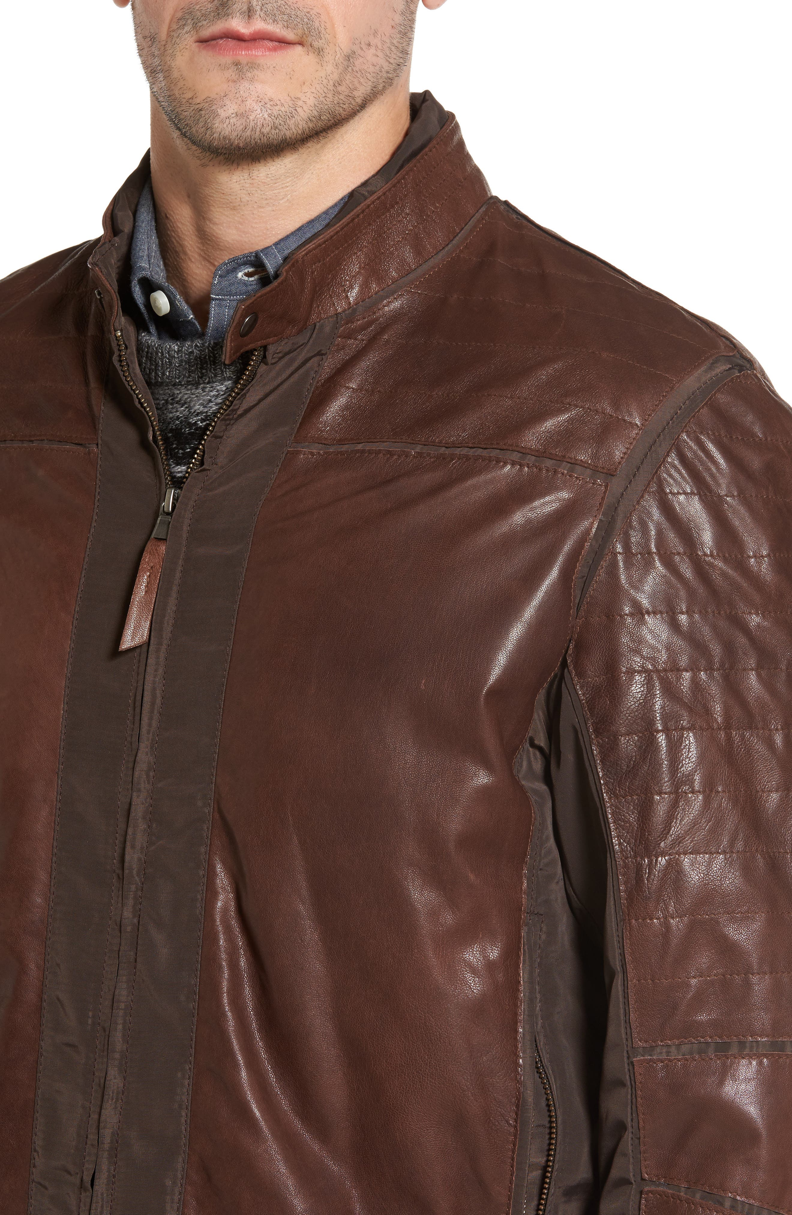 Leather Panel Nylon Jacket,                             Alternate thumbnail 4, color,                             Brown