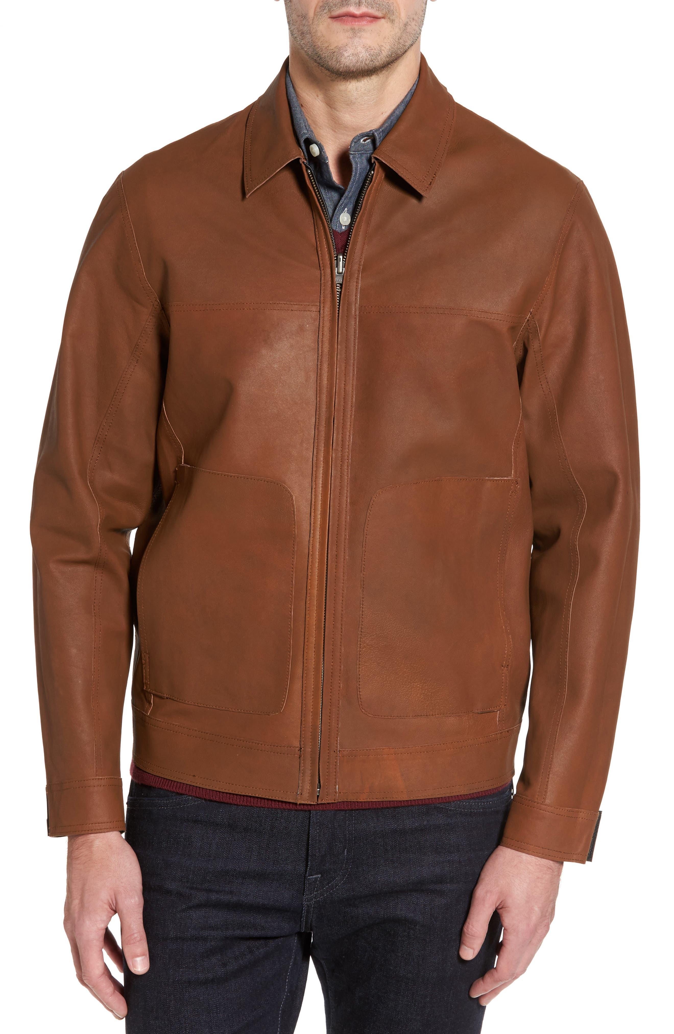 Reversible Leather Jacket,                             Alternate thumbnail 3, color,                             Black