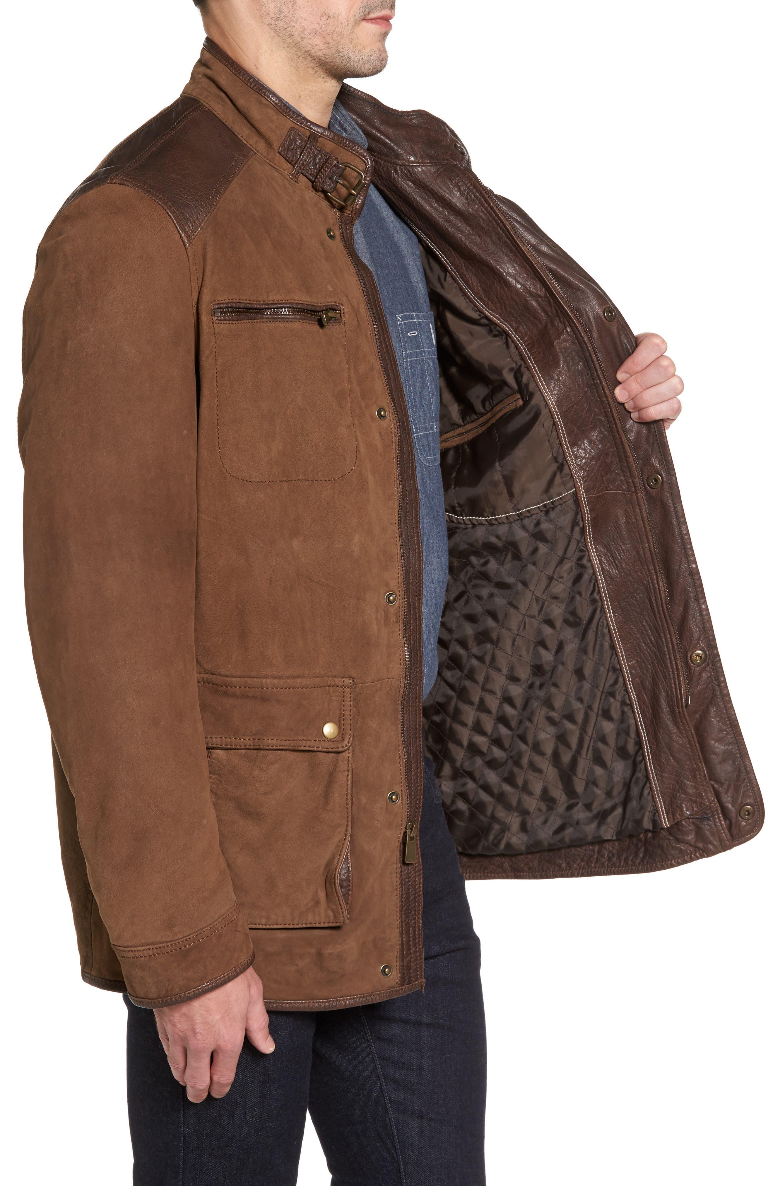 Alternate Image 3  - Missani Le Collezioni Leather Trim Nubuck Jacket