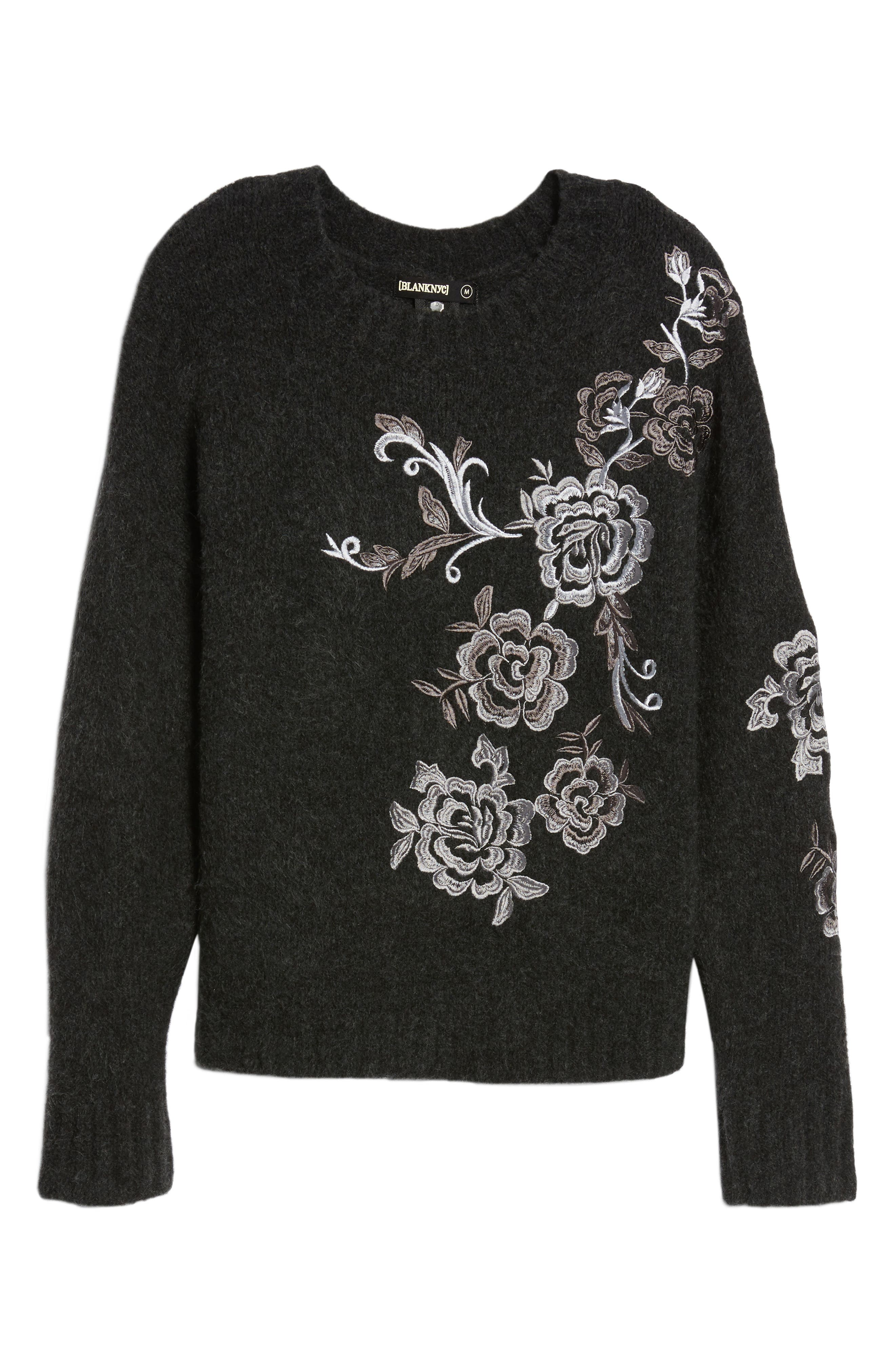 Grey Gardens Embroidered Sweater,                             Alternate thumbnail 6, color,                             Charcoal