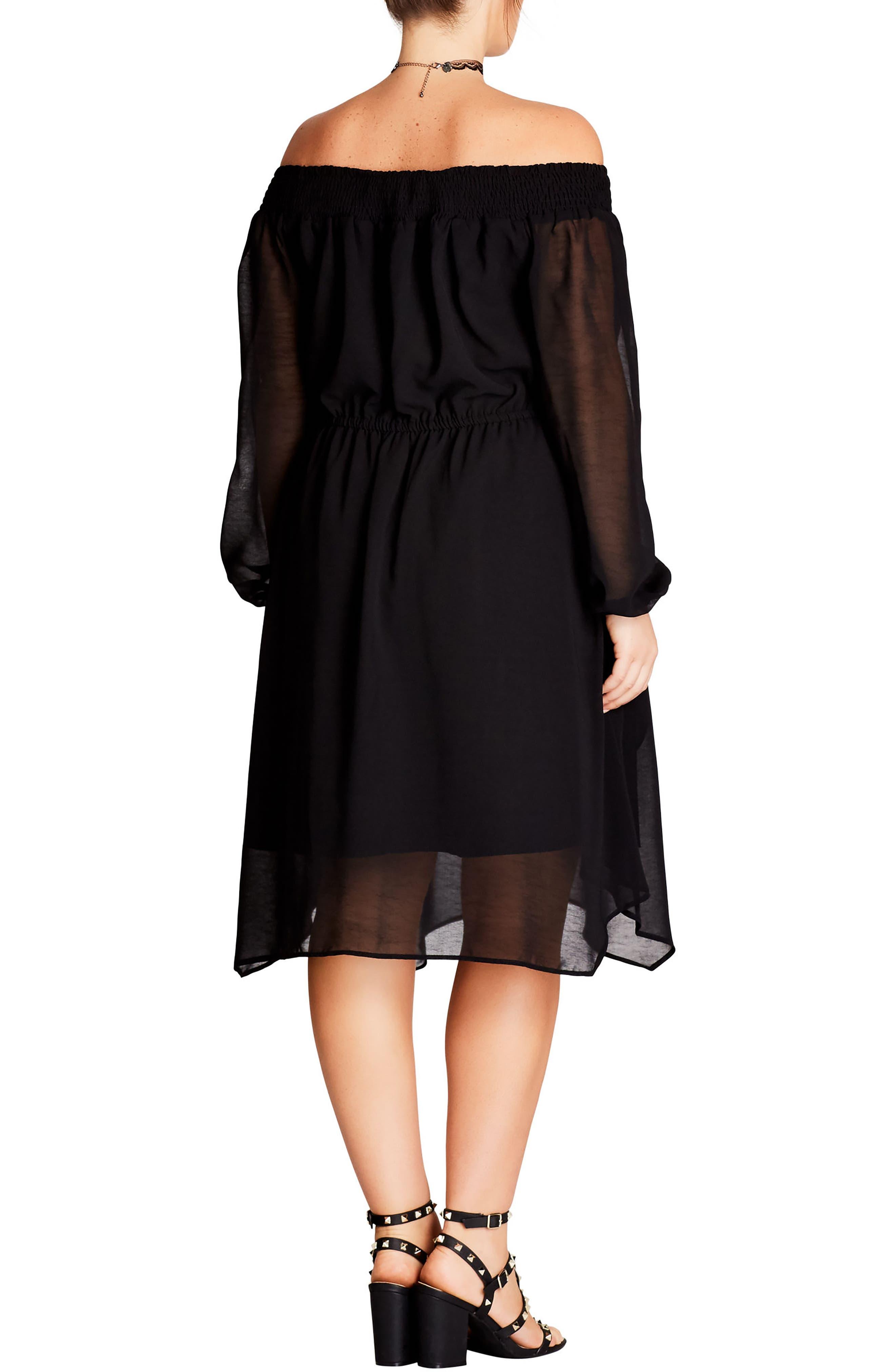 Soft Divine Off the Shoulder Dress,                             Alternate thumbnail 2, color,                             Black