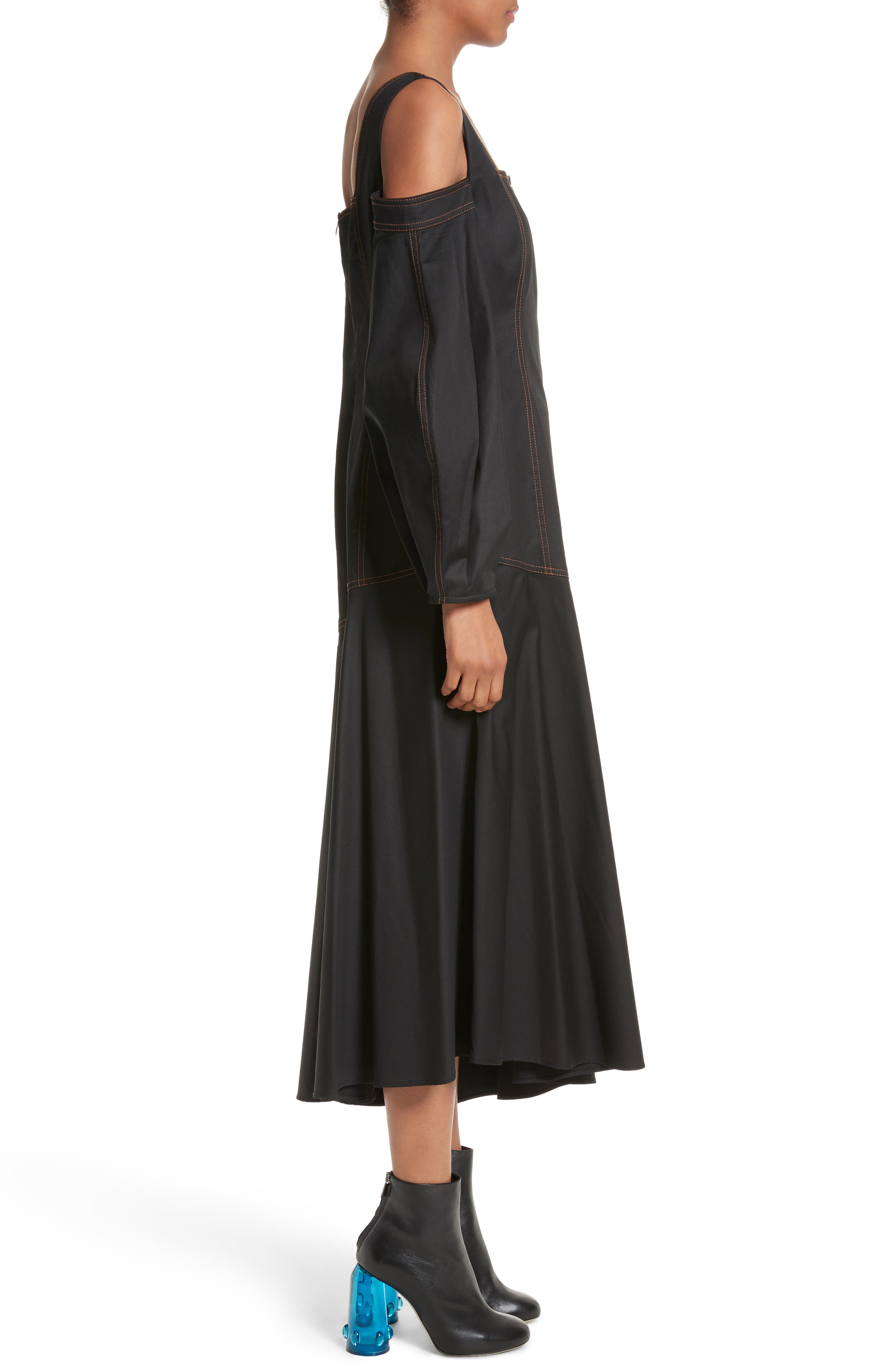 Mississippi Off the Shoulder Stretch Twill Dress,                             Alternate thumbnail 6, color,                             Black W Toffee