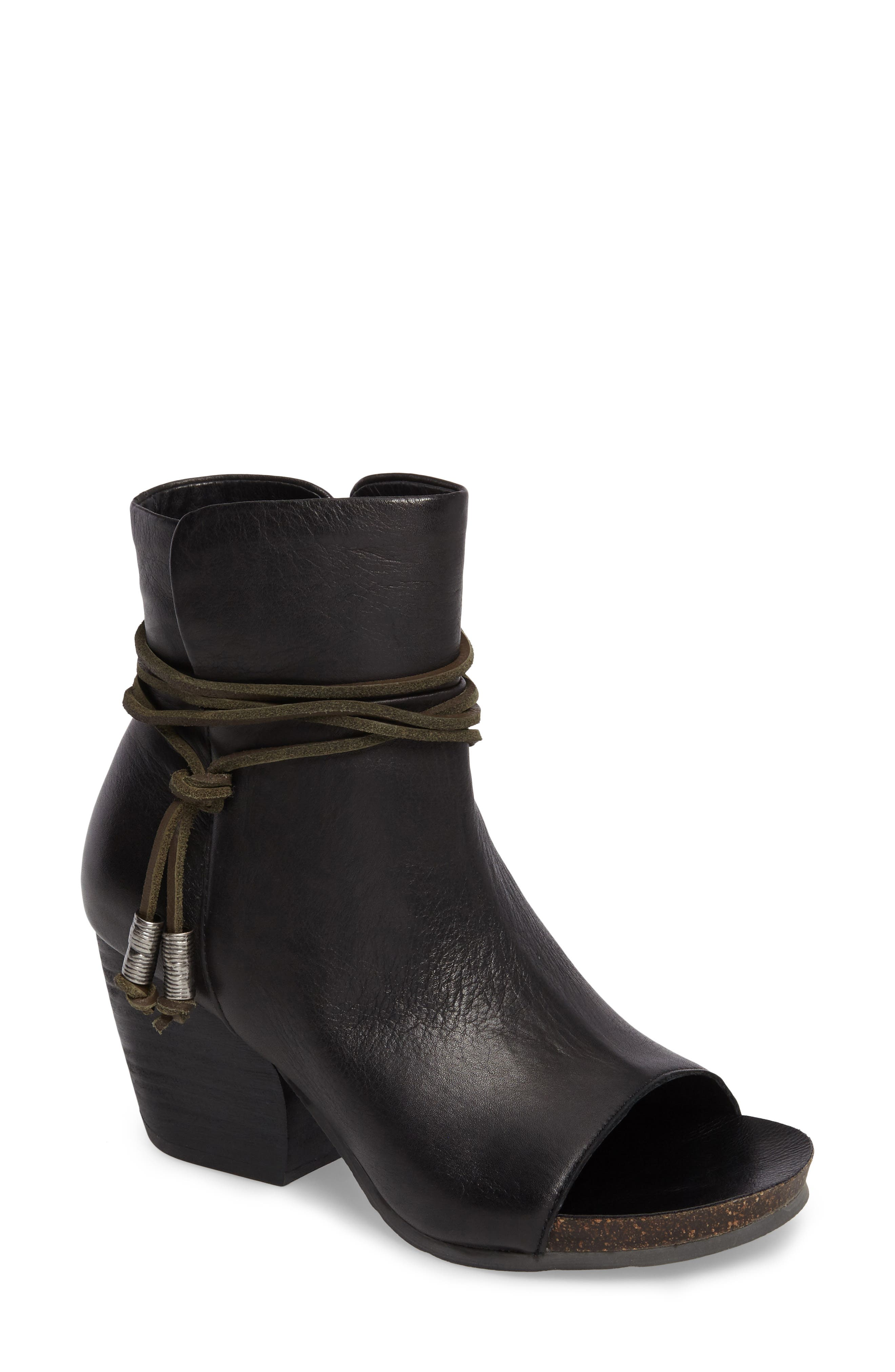 Open Toe Bootie,                         Main,                         color, Black Leather