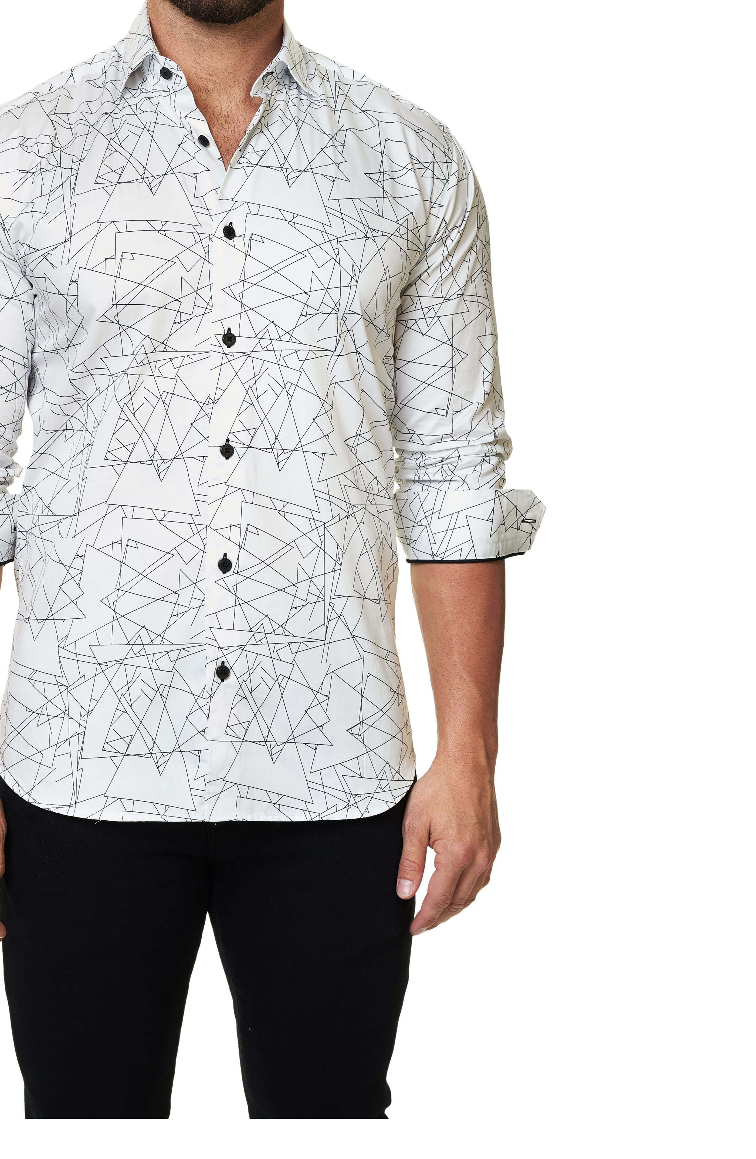 Alternate Image 1 Selected - Maceoo Trim Fit Geo Print Sport Shirt