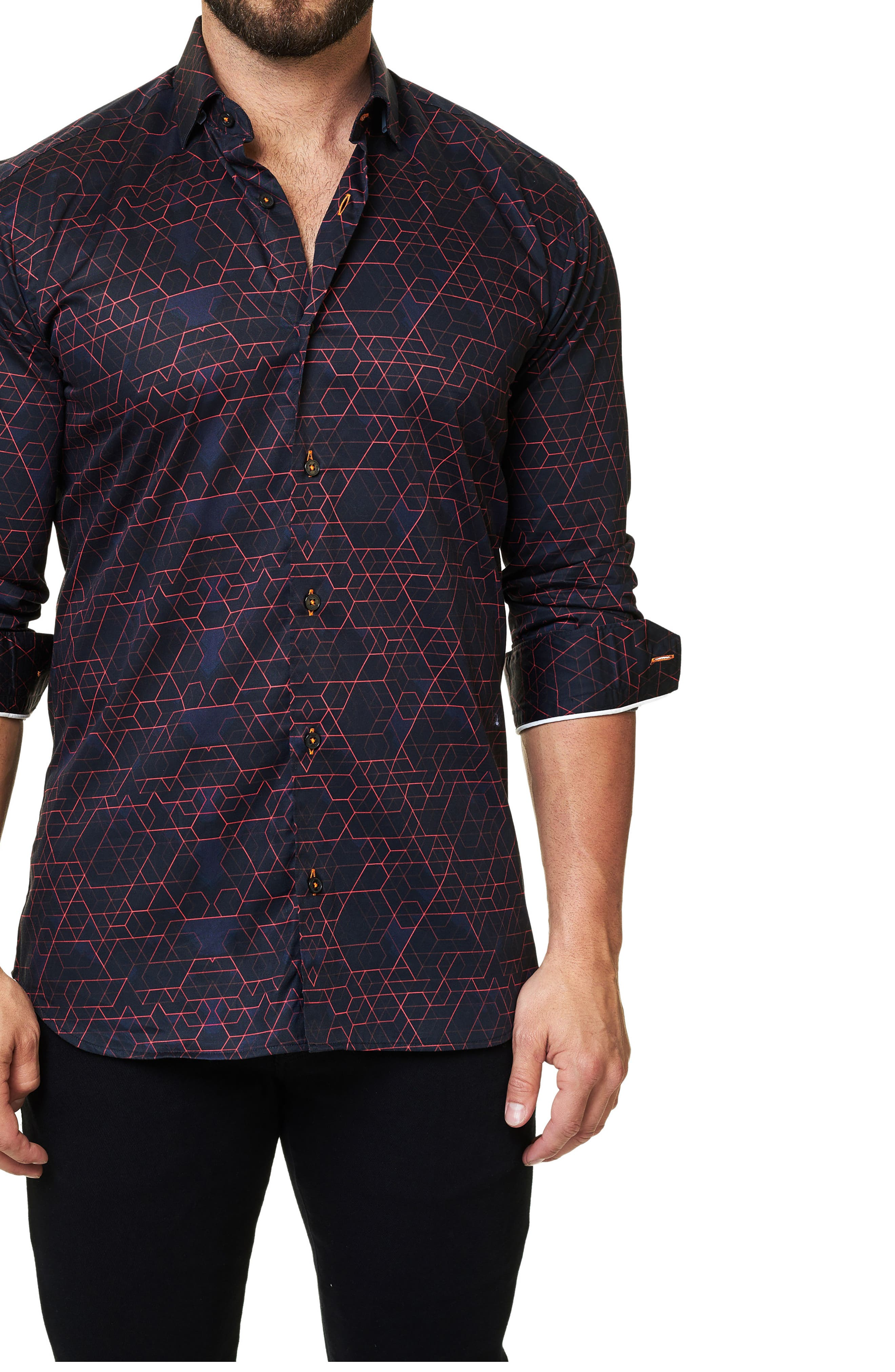 Trim Fit Geo Print Sport Shirt,                             Main thumbnail 1, color,                             Black