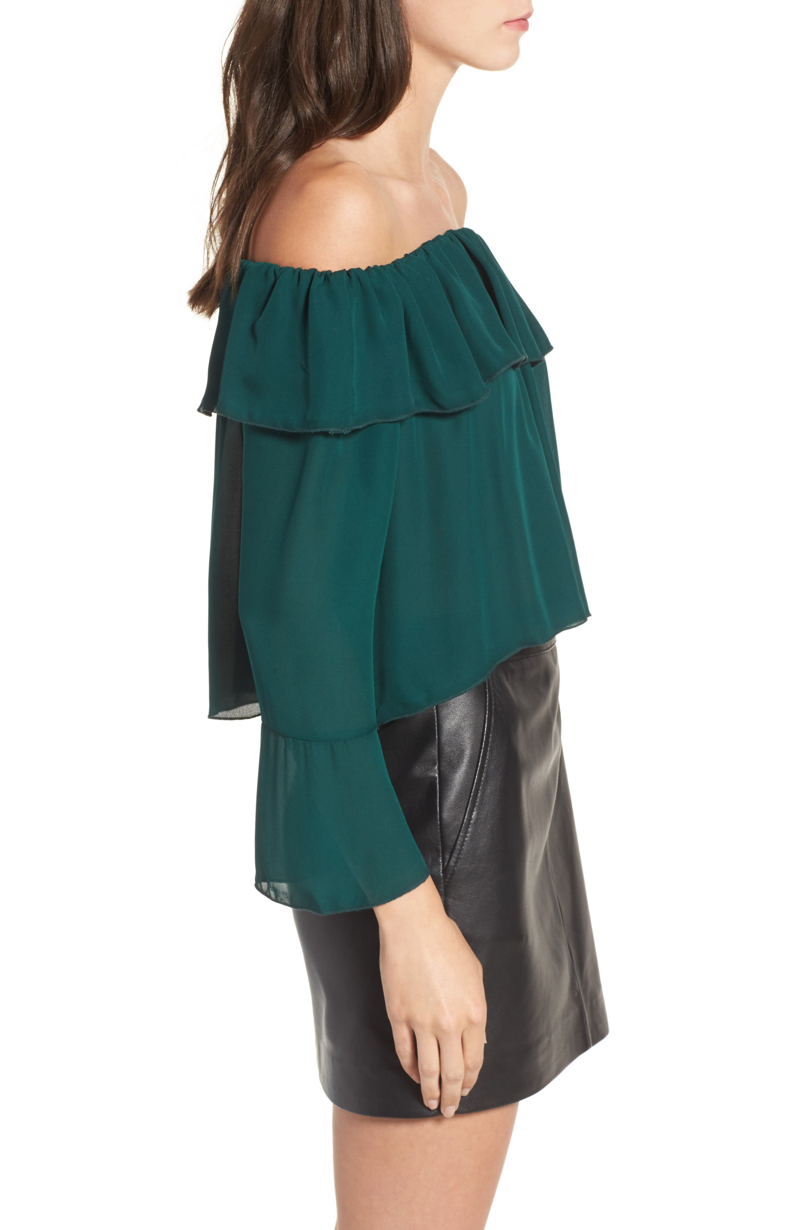 Kennedy Off the Shoulder Blouse,                             Alternate thumbnail 3, color,                             Emerald Green