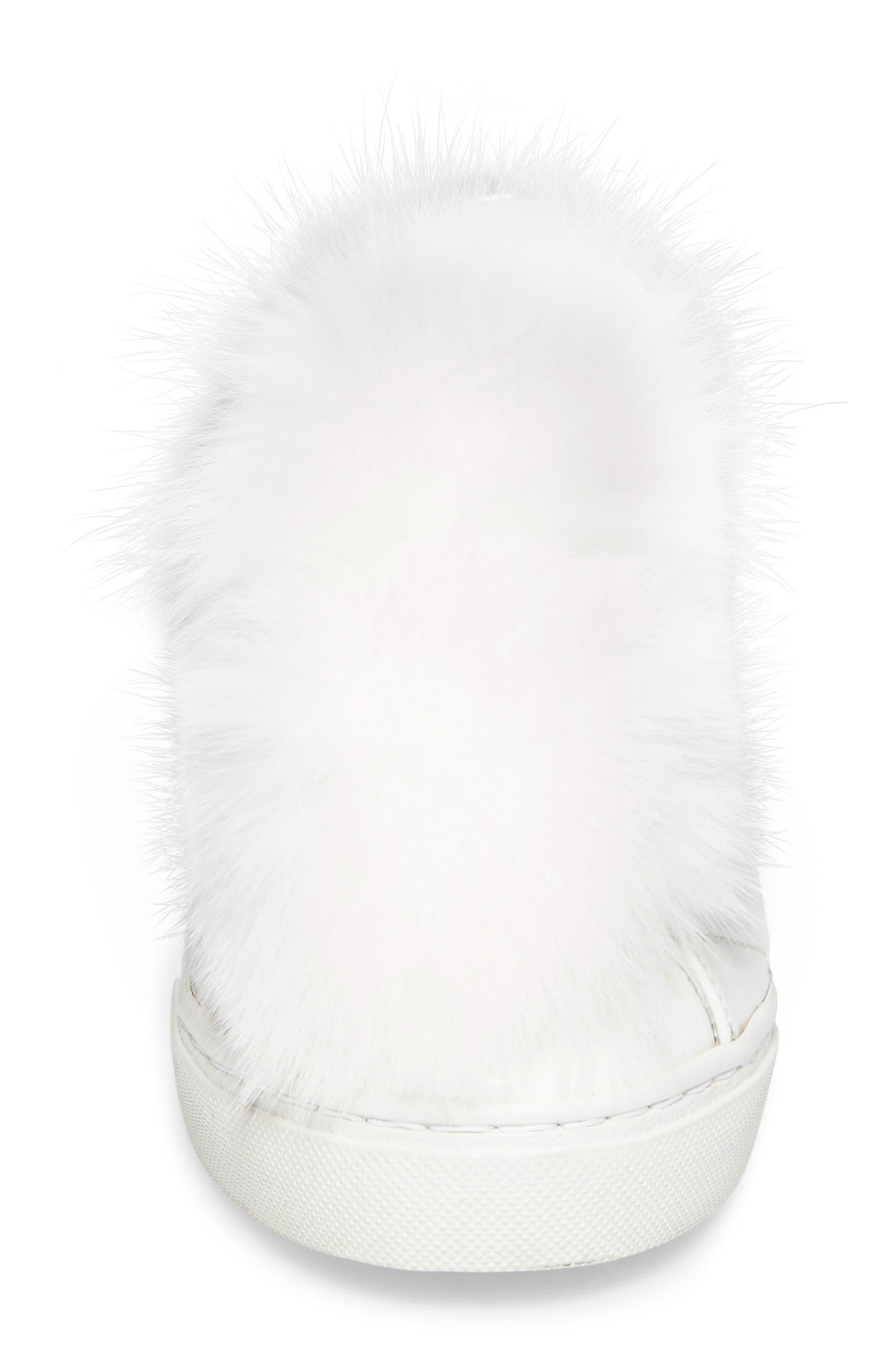 Sugar Genuine Fox Fur Slip-On Sneaker,                             Alternate thumbnail 4, color,                             White Leather