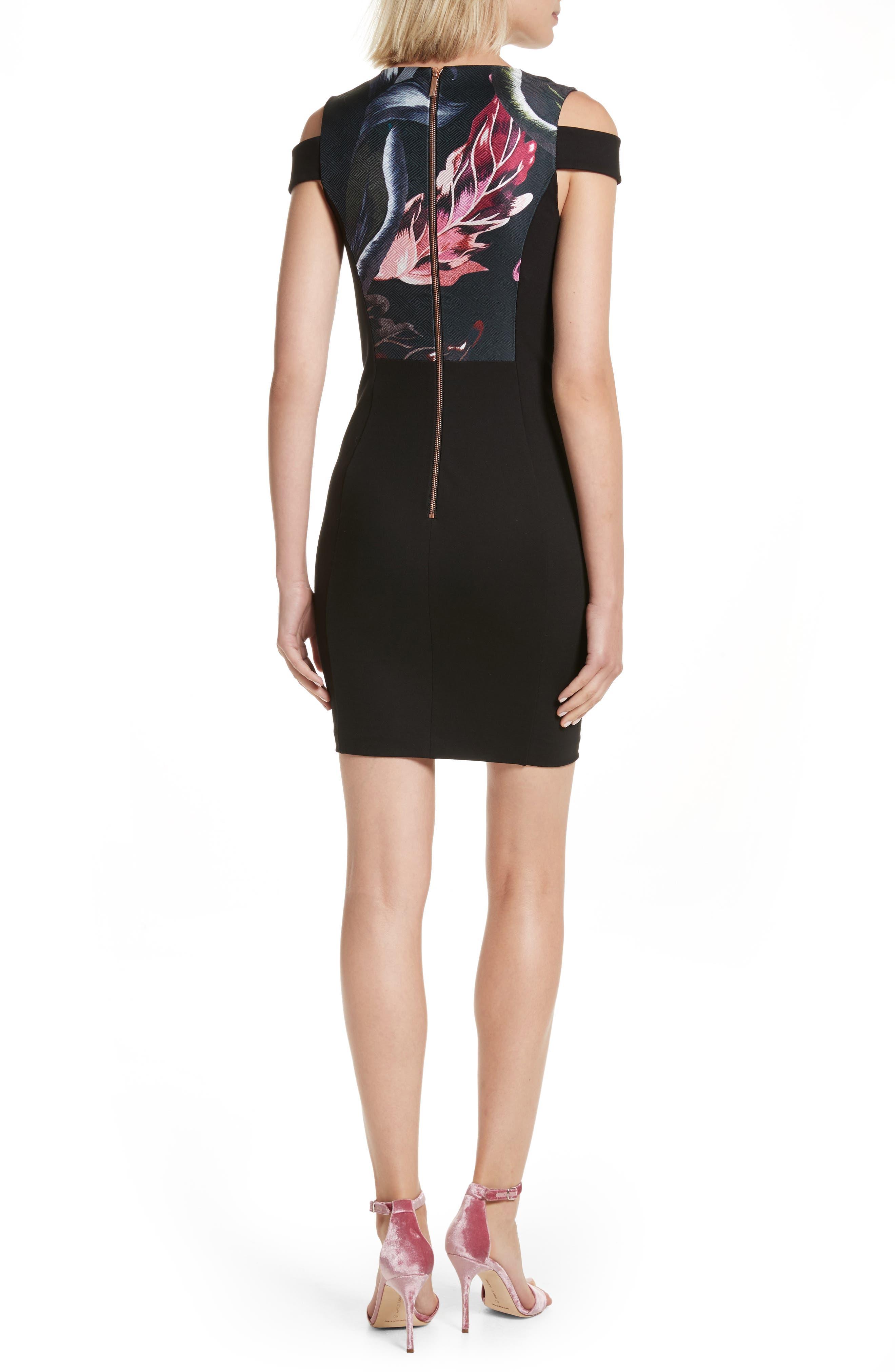 Leeash Eden Body Con Dress,                             Alternate thumbnail 2, color,                             Black