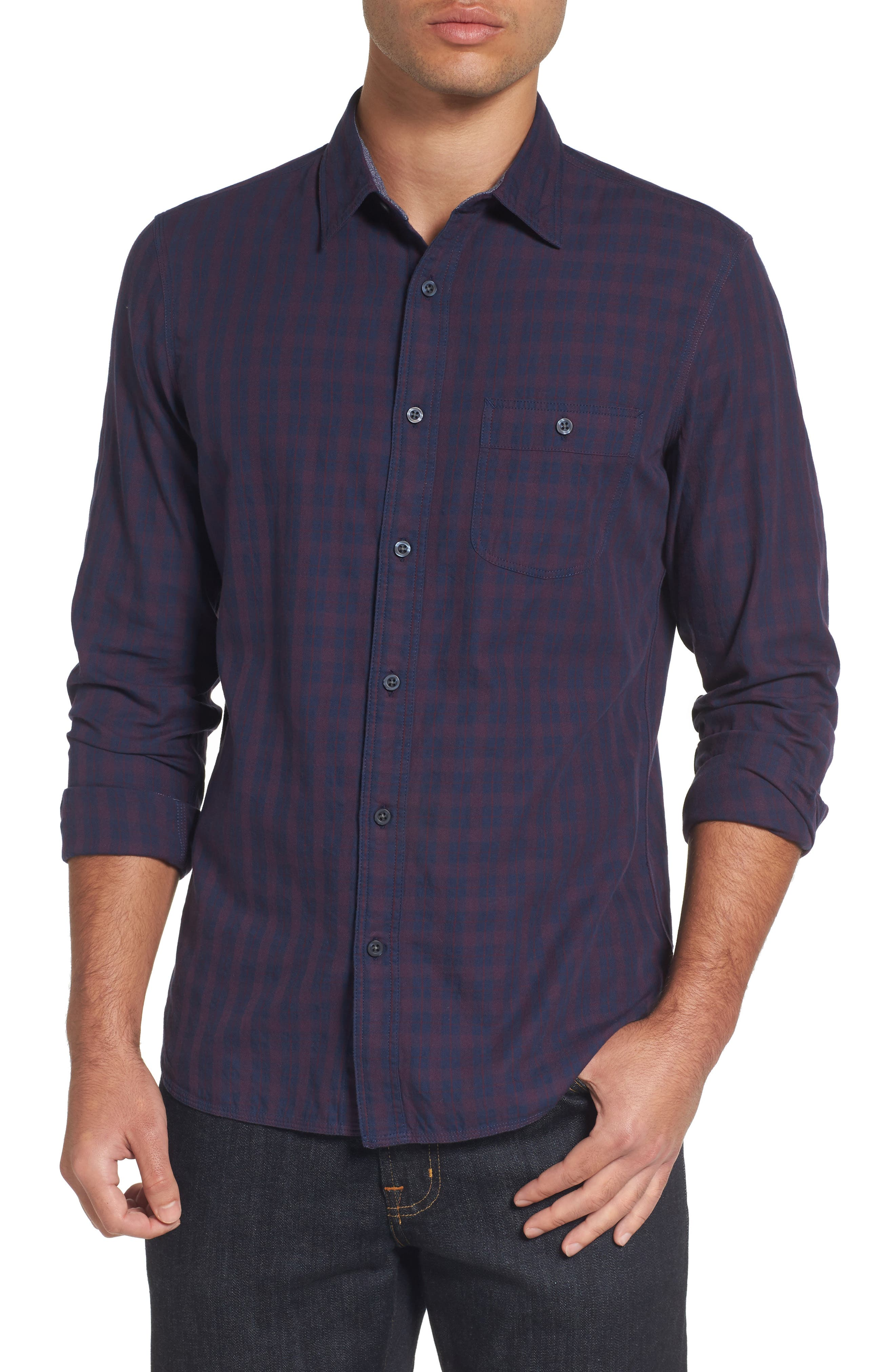 Slim Washed Fit Sport Shirt,                         Main,                         color, Navy Iris Burgundy Stem Check