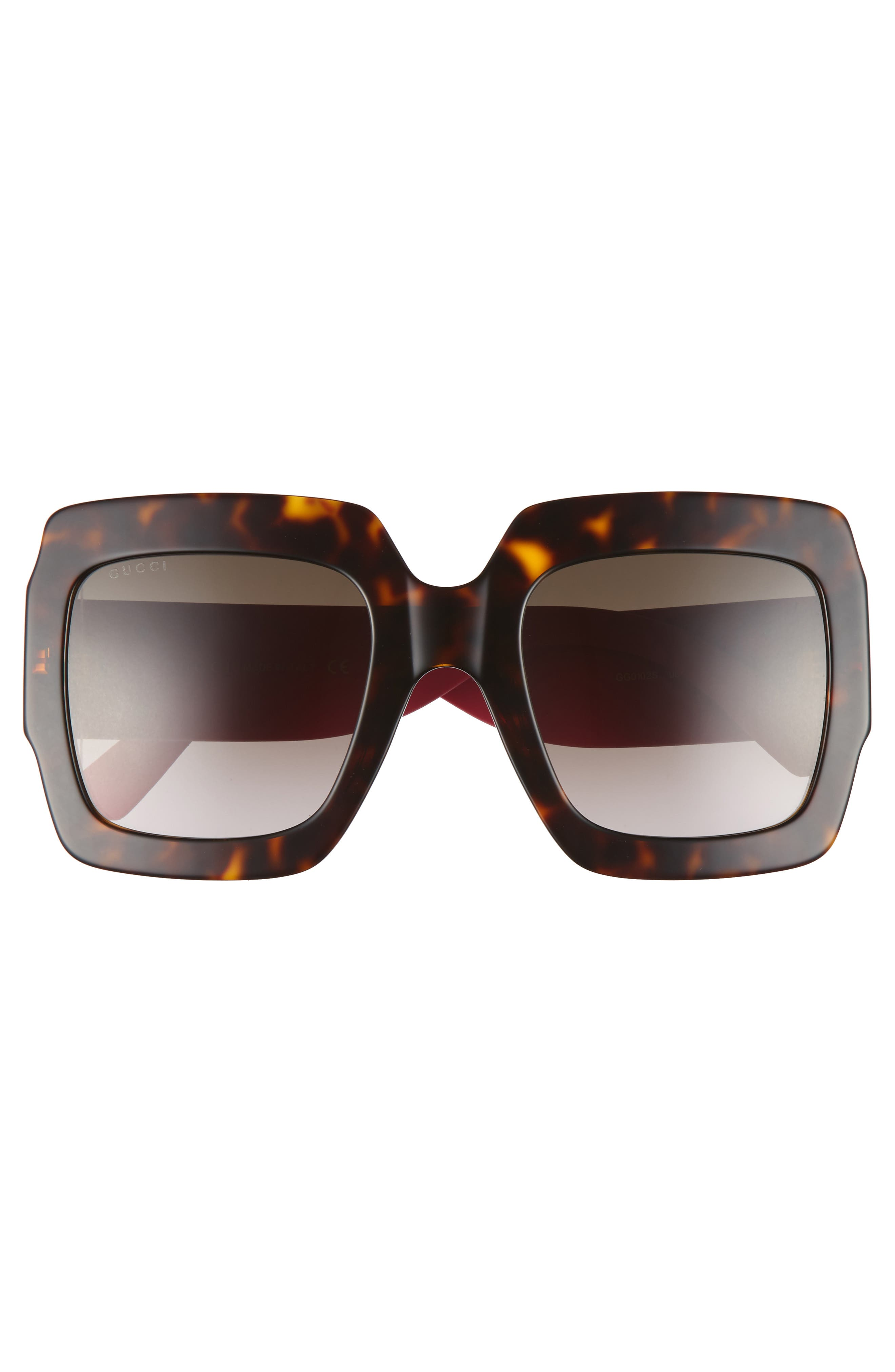 54mm Square Sunglasses,                             Alternate thumbnail 3, color,                             Havana/ Brown