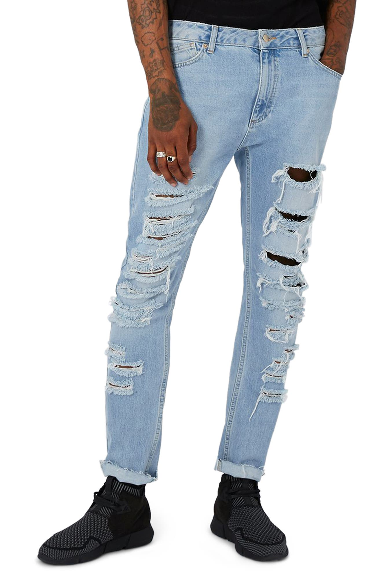 AAA Collection Shredded Skinny Jeans,                         Main,                         color, Blue