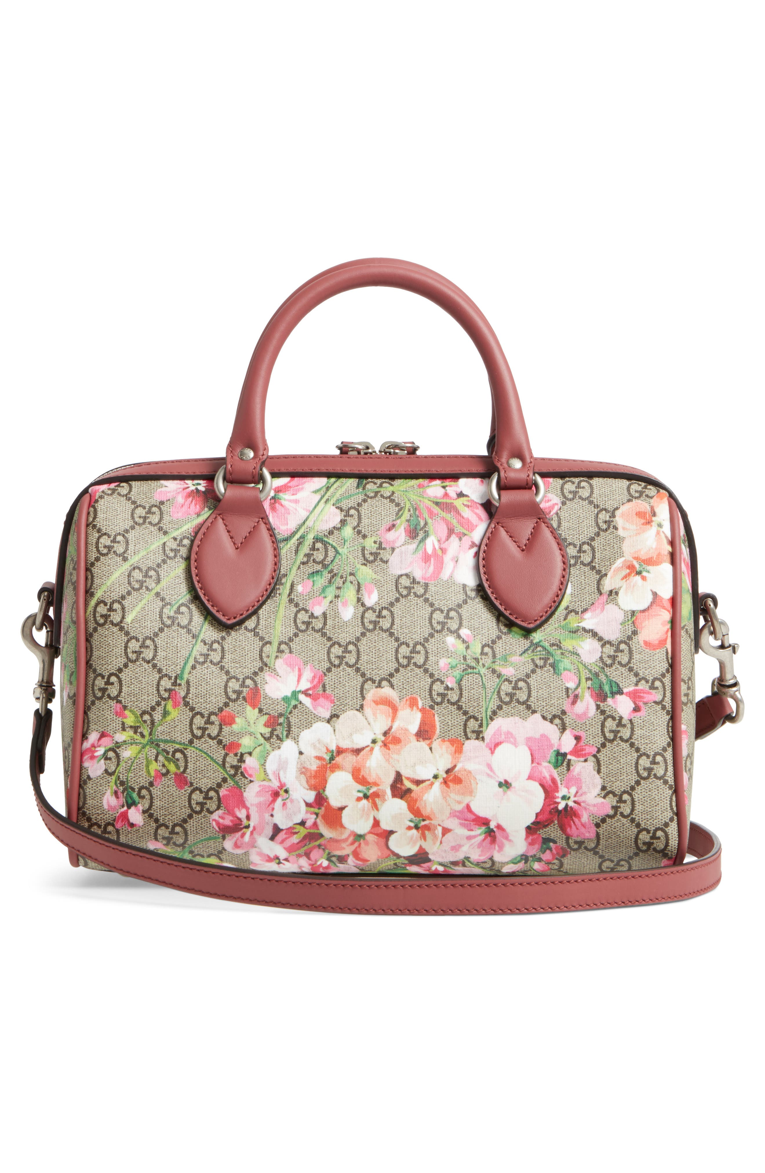 Small Blooms Top Handle GG Supreme Canvas Bag,                             Alternate thumbnail 3, color,                             Multi/Dry Rose