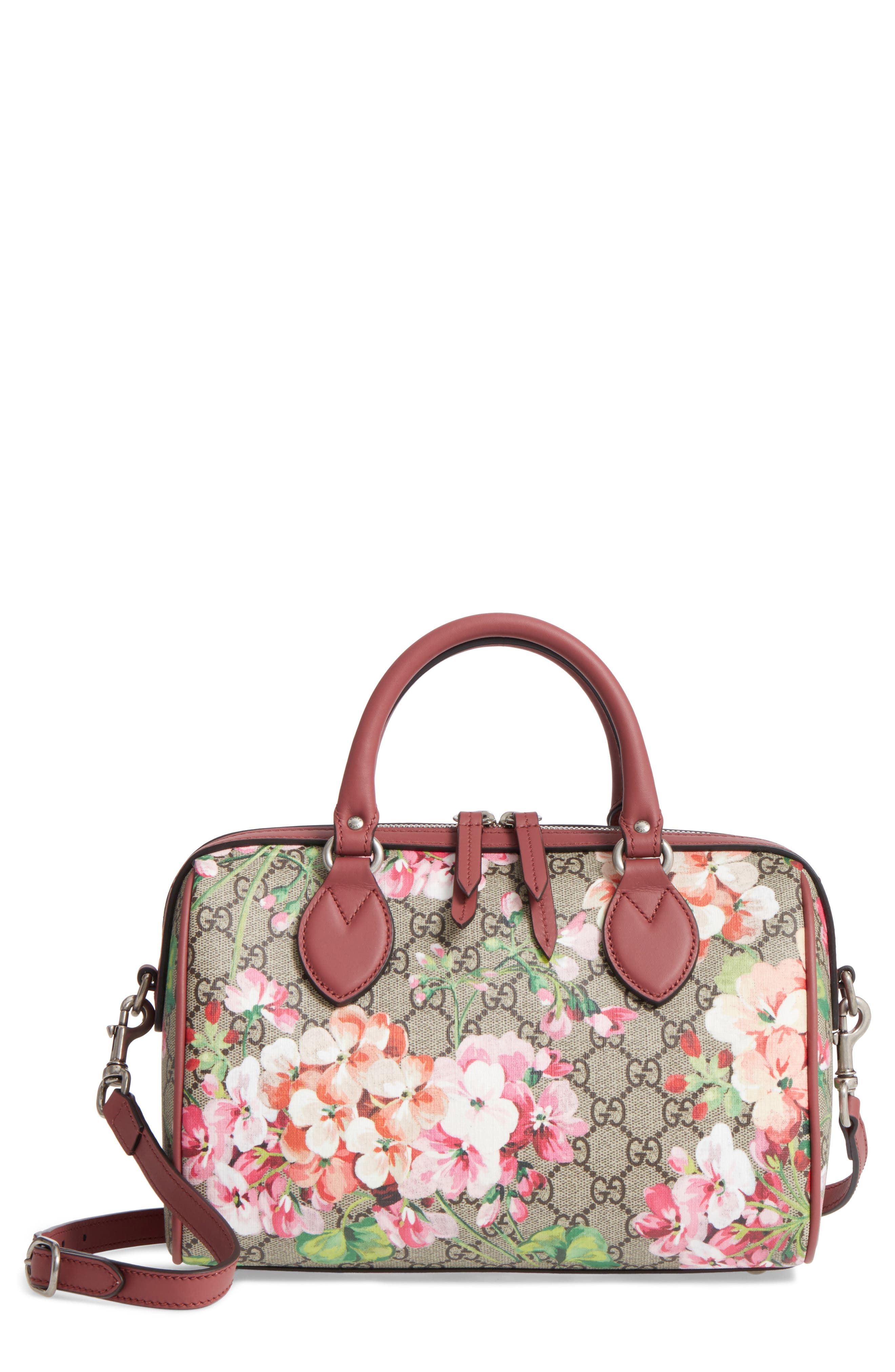 Small Blooms Top Handle GG Supreme Canvas Bag,                             Main thumbnail 1, color,                             Multi/Dry Rose