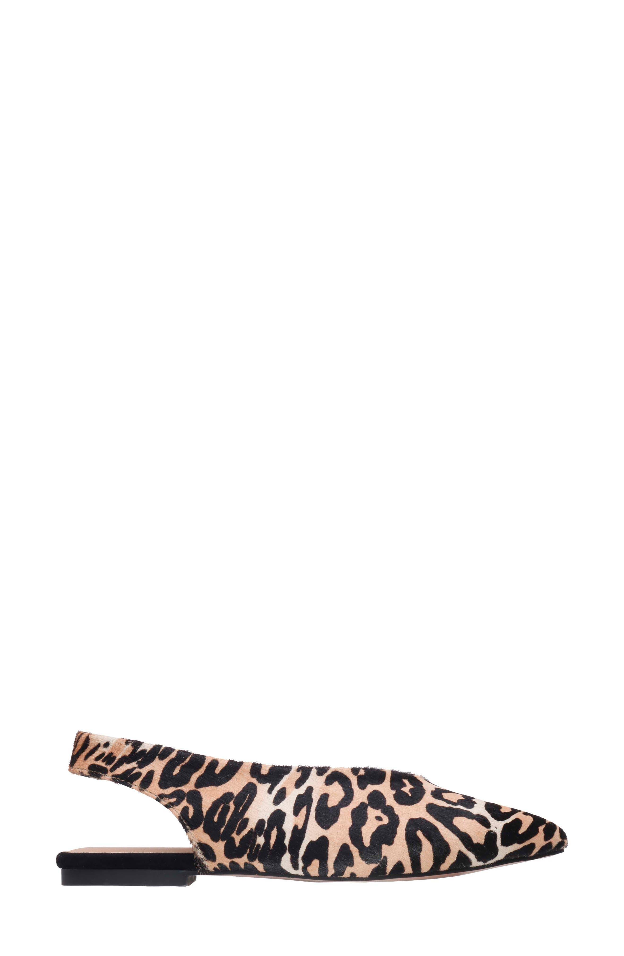 Violet Genuine Calf Hair Slingback Flat,                             Alternate thumbnail 3, color,                             Leopard Calf Hair