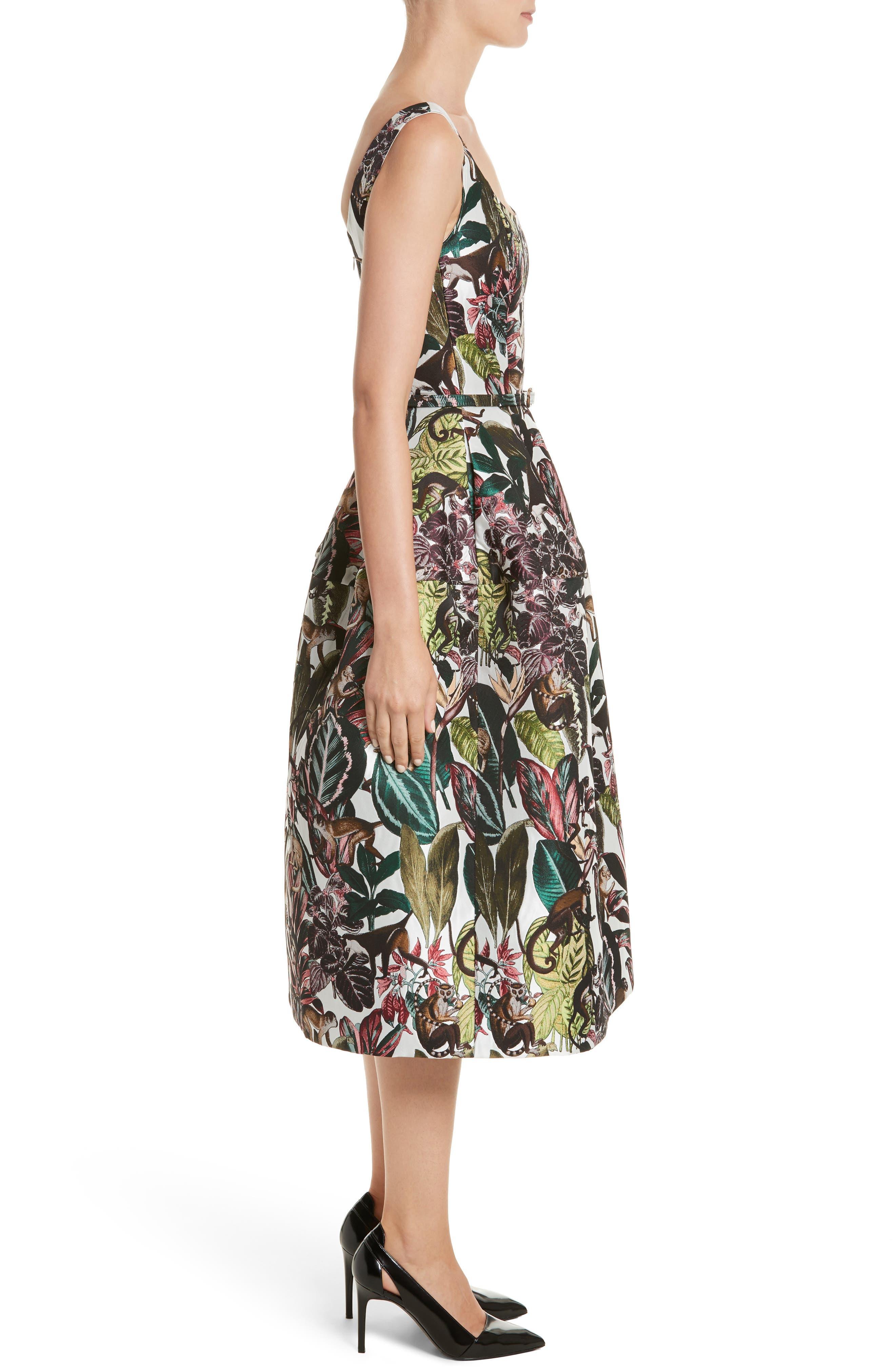 Jungle Jacquard Dress,                             Alternate thumbnail 3, color,                             White Multi
