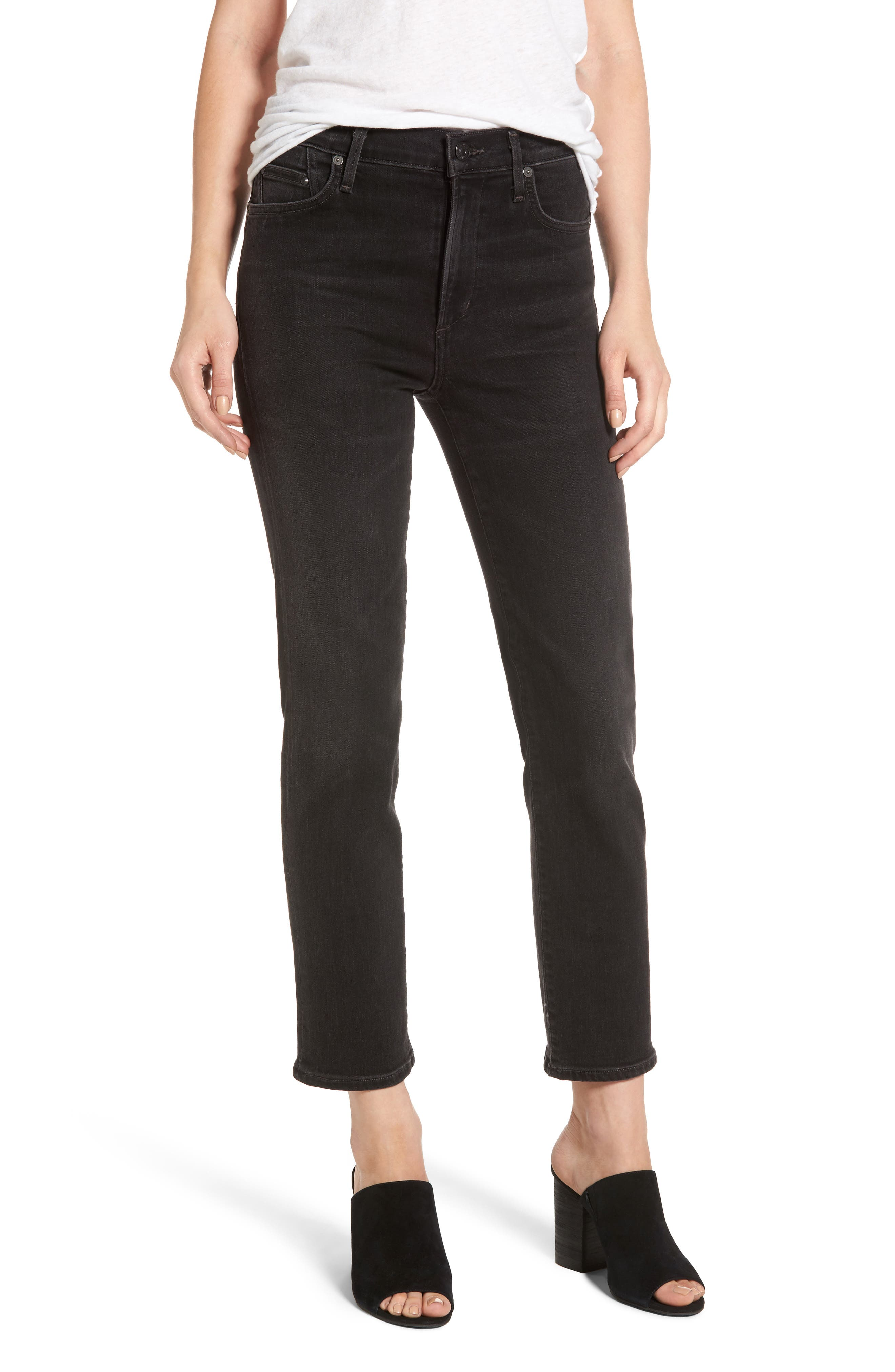 Cara Ankle Cigarette Jeans,                             Main thumbnail 1, color,                             Darkness