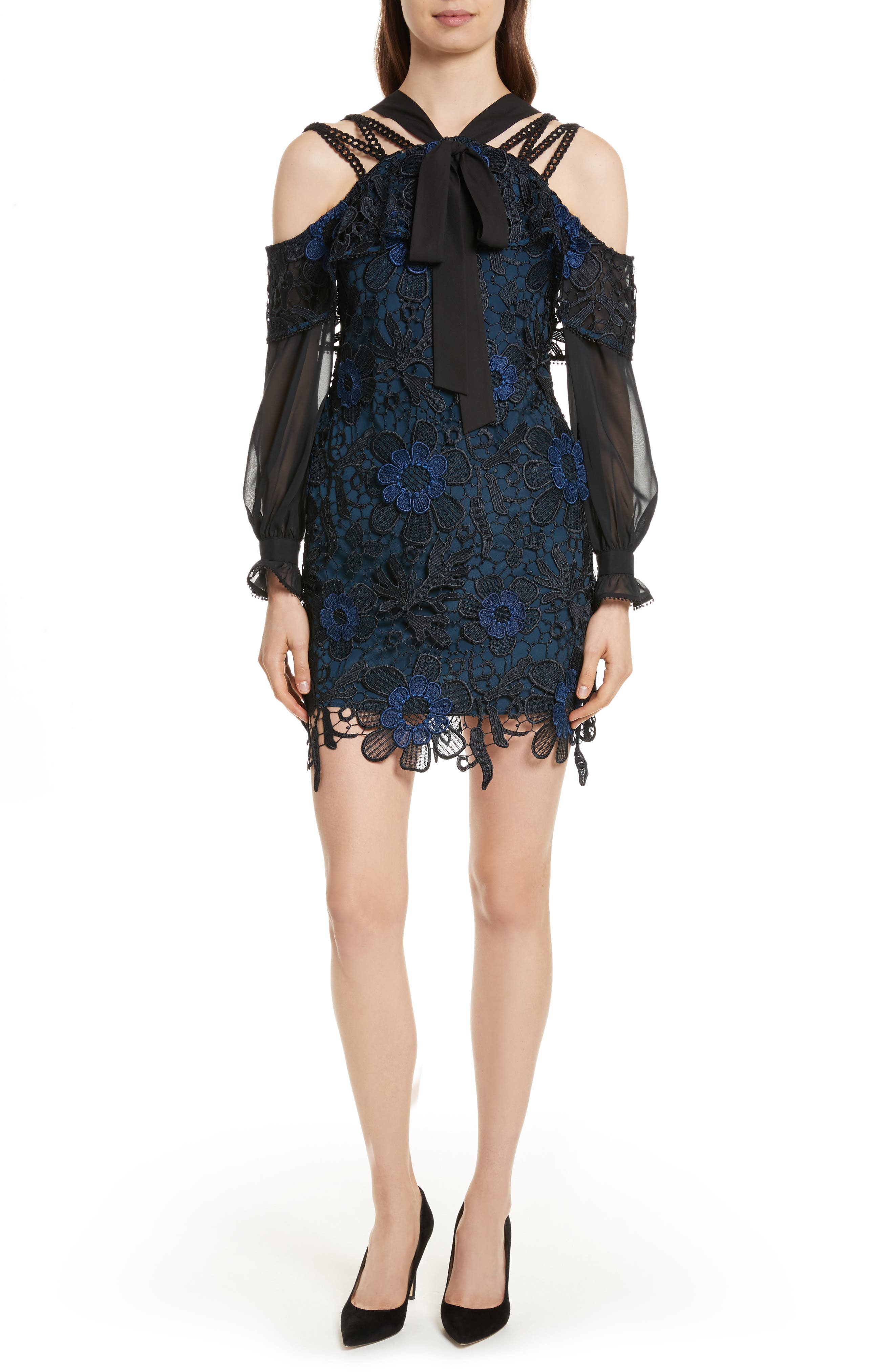 Self-Portrait 3D Floral Lace Minidress