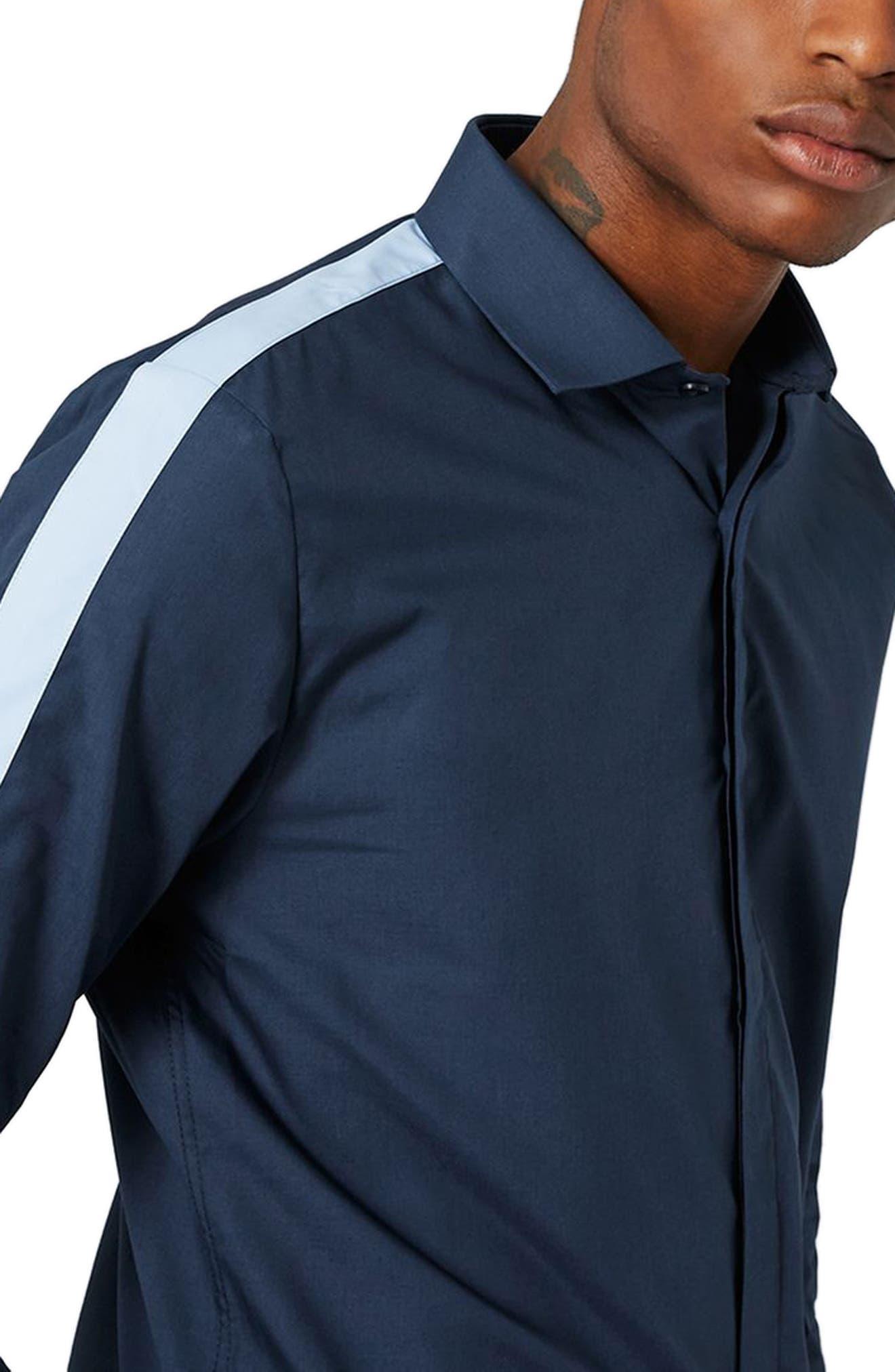 Alternate Image 4  - Topman Slim Fit Contrast Stripe Woven Shirt