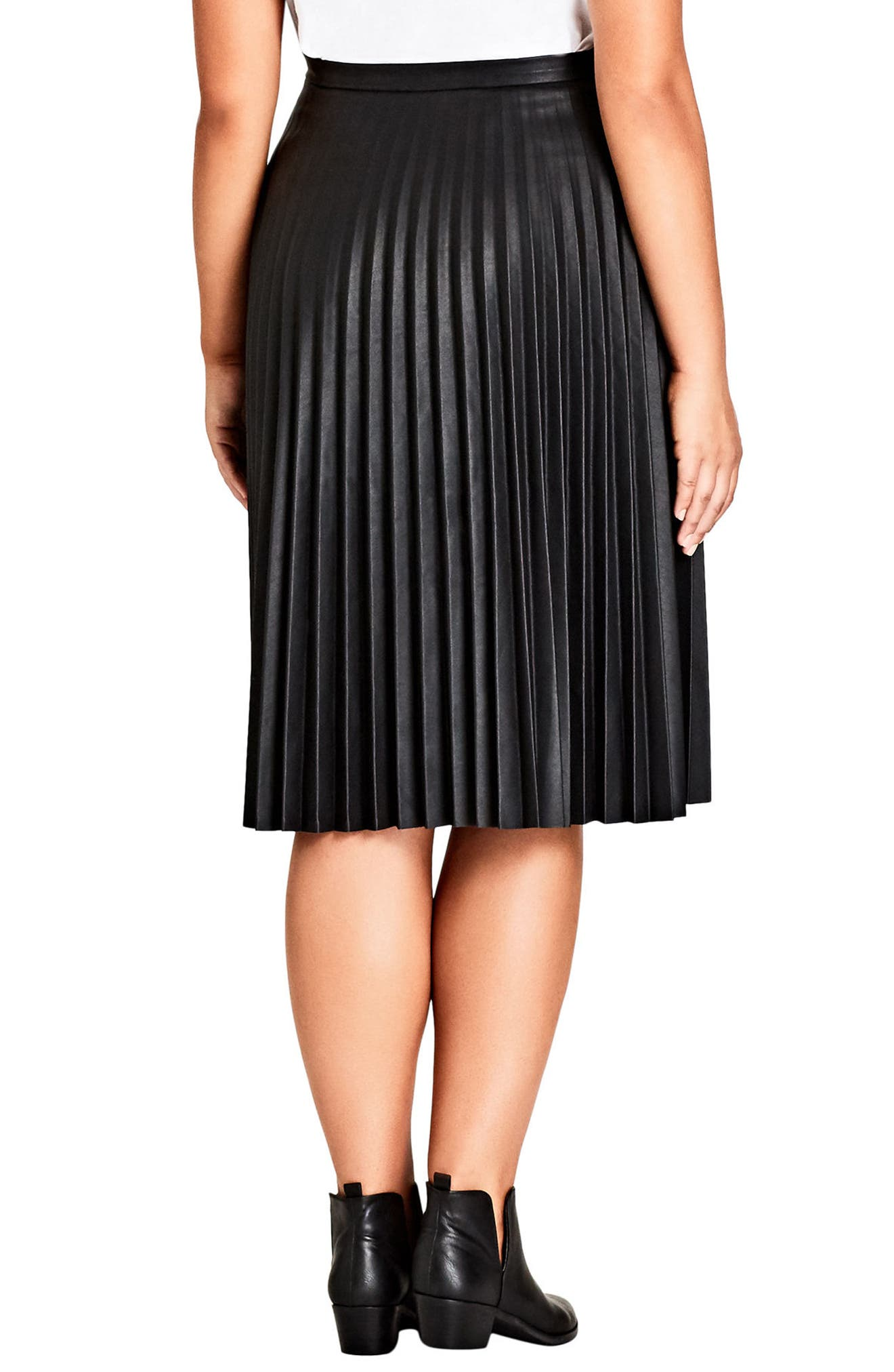 Pleated Faux Leather Skirt,                             Alternate thumbnail 2, color,                             Black