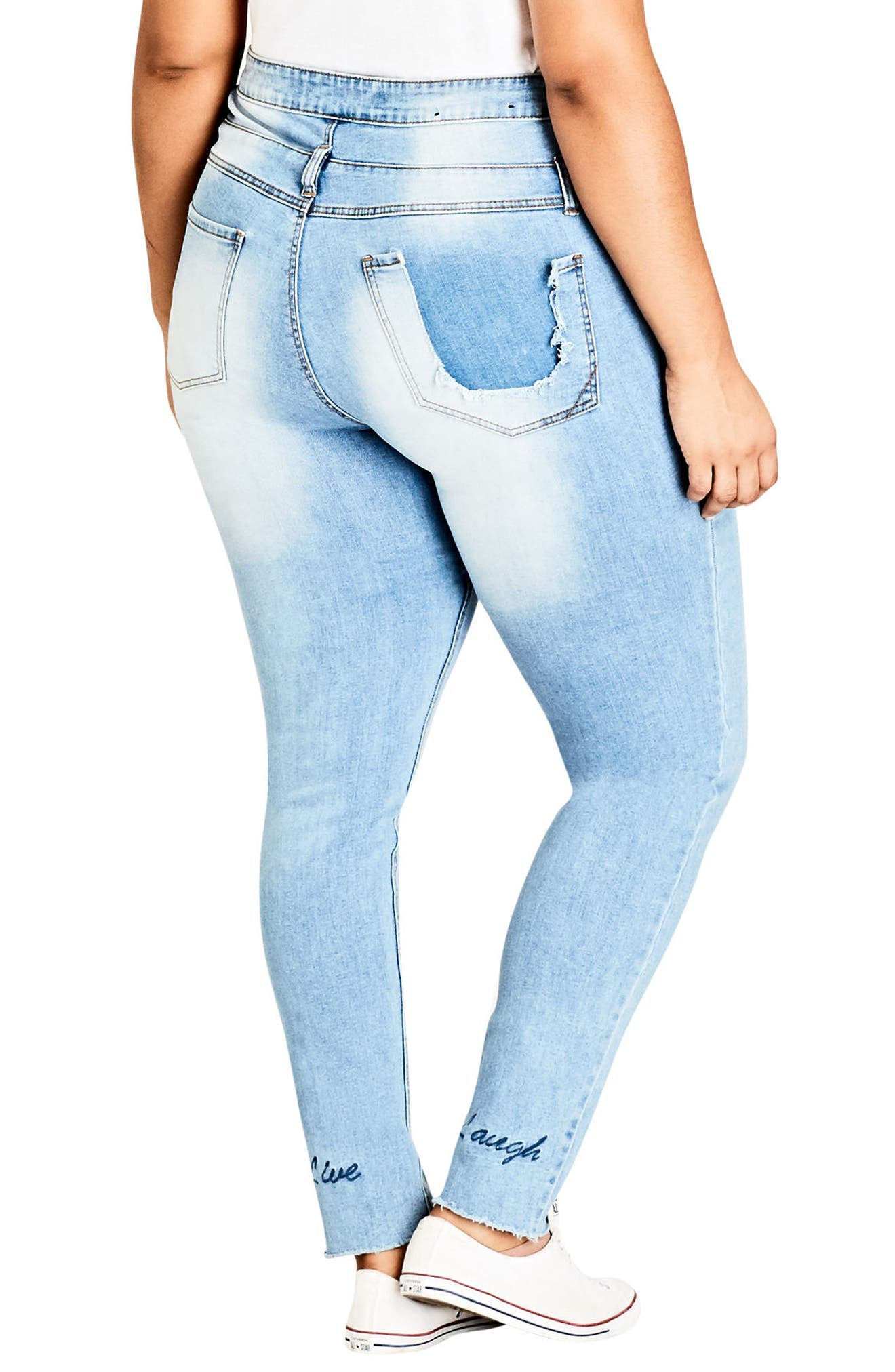 Alternate Image 2  - City Chic Harley Vibes Ripped Corset Skinny Jeans (Plus Size)
