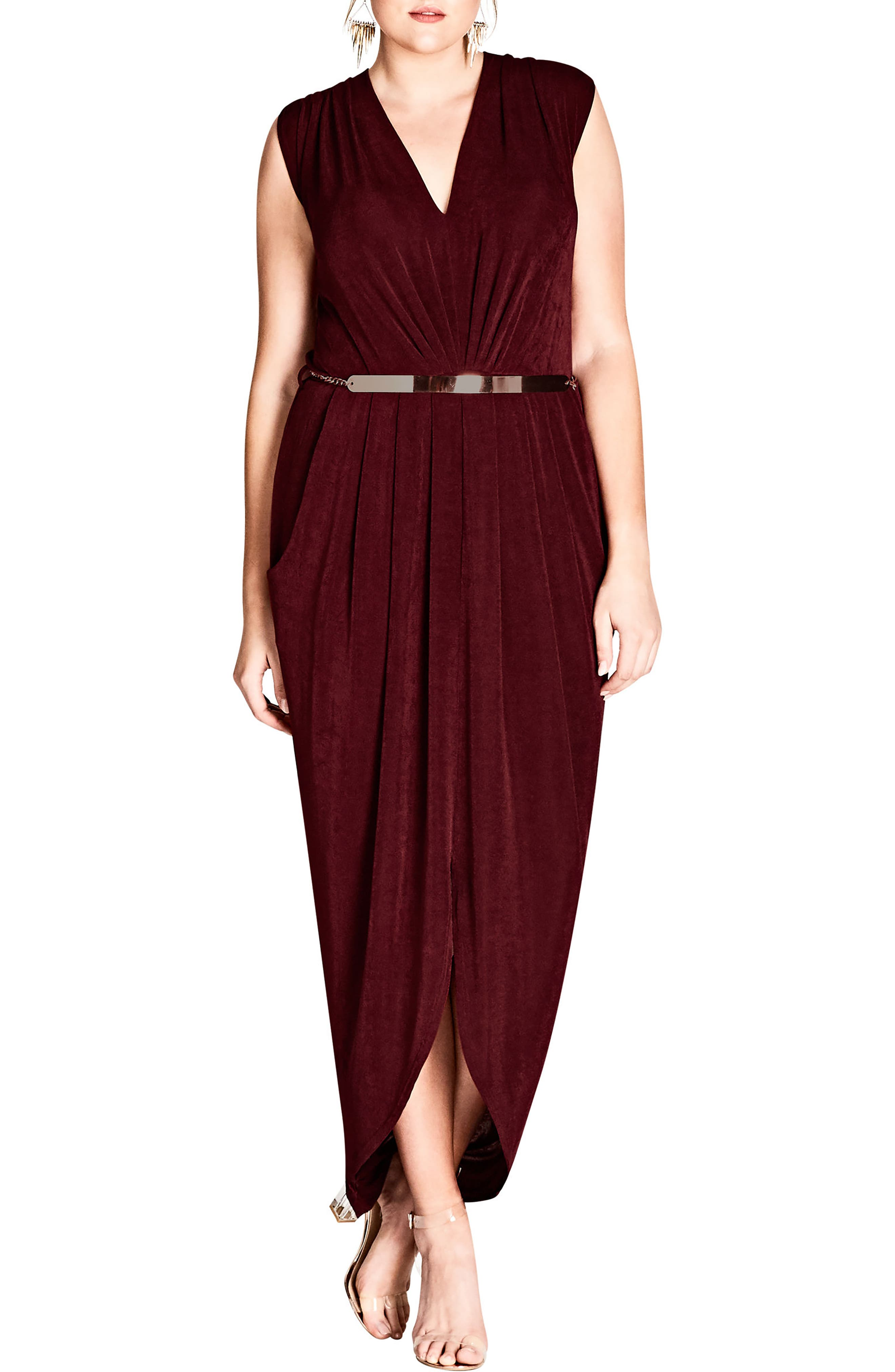 City Chic Trendy Plus Size Belted Jersey Dress In Ruby | ModeSens