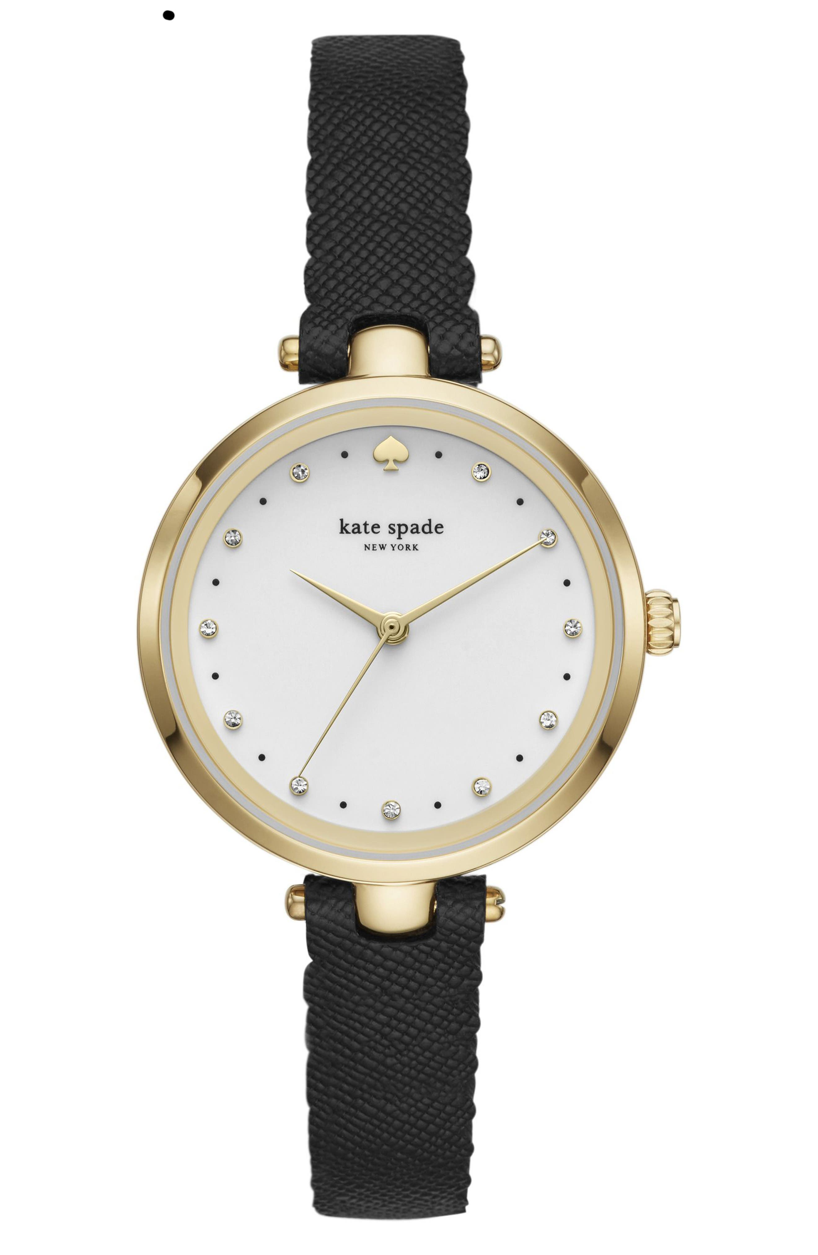 holland leather strap watch, 34mm,                         Main,                         color, Black/ White/ Gold