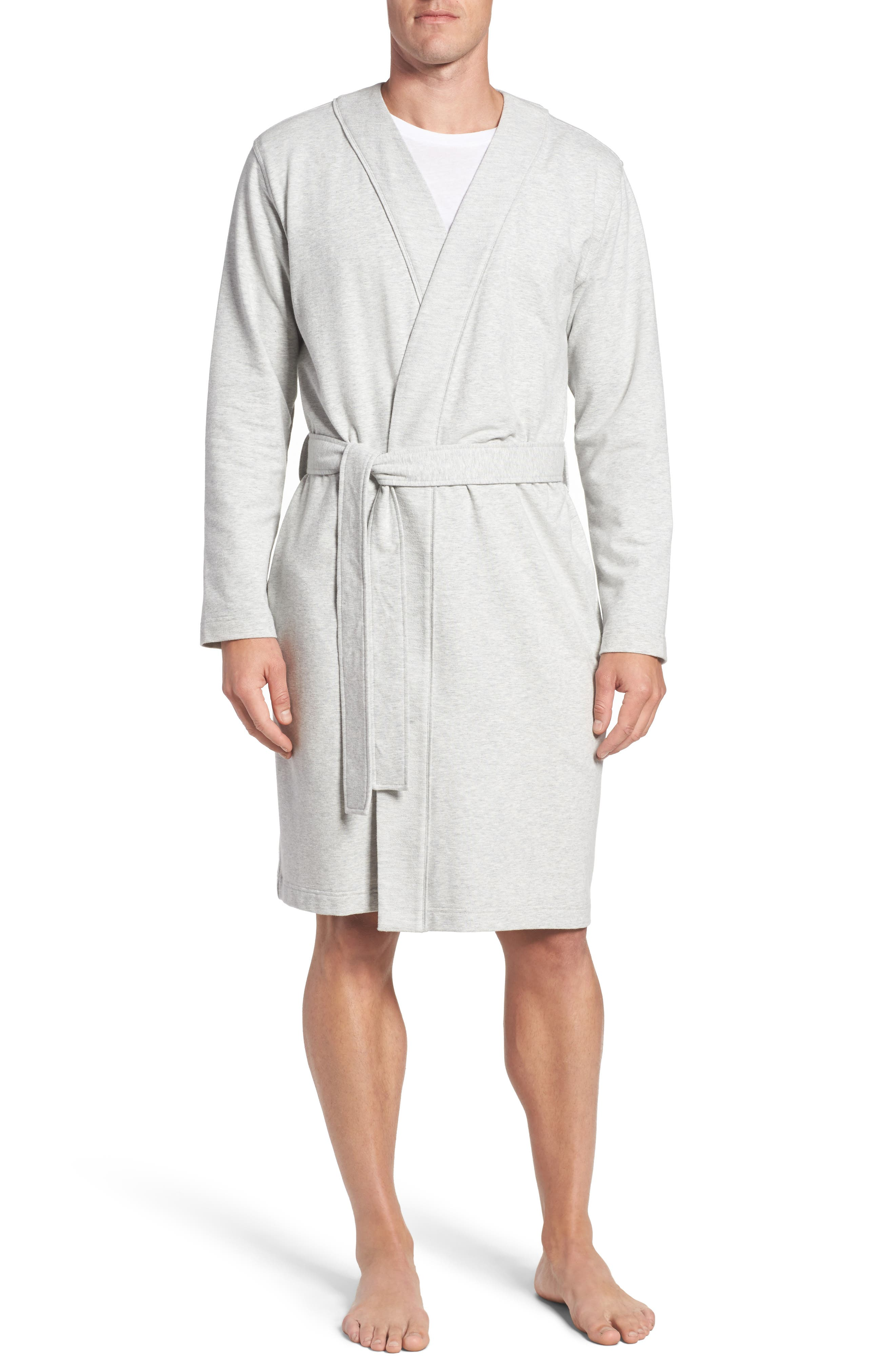 Samuel Stretch Cotton Robe,                             Main thumbnail 1, color,                             Seal Heather