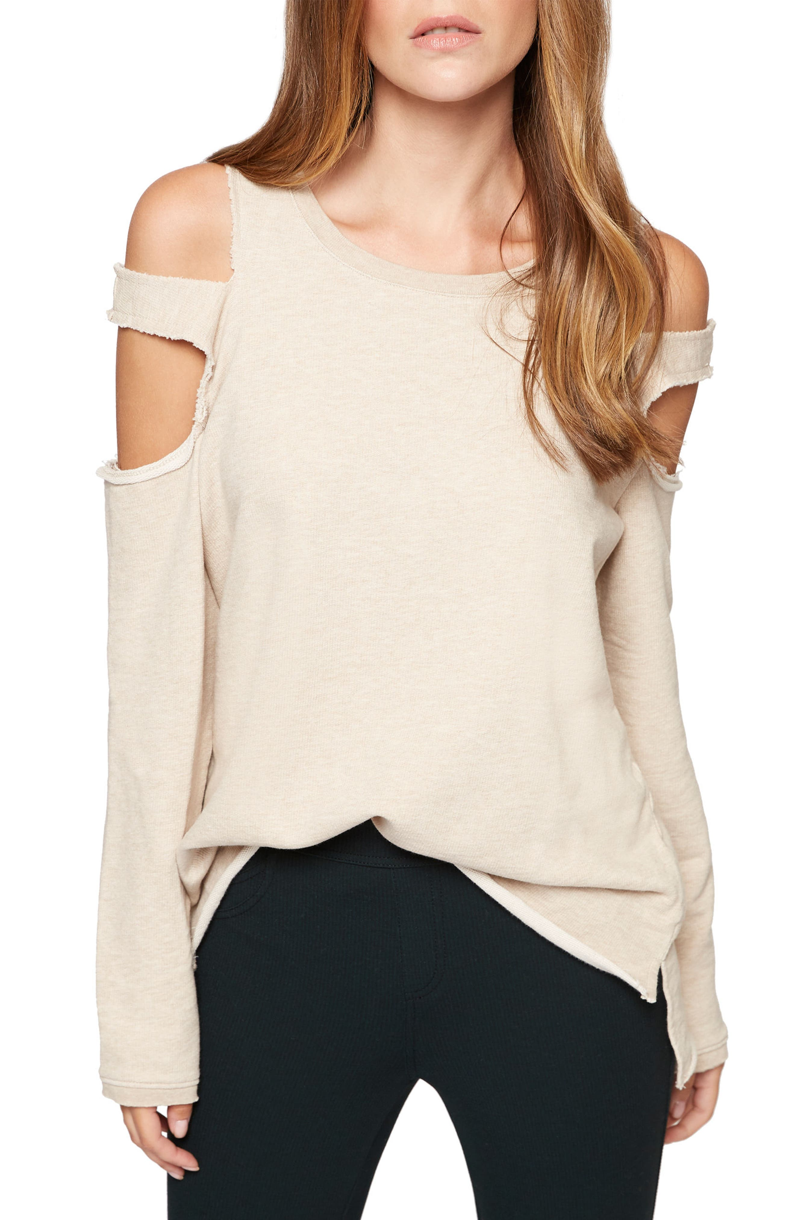 Park Slope Cold Shoulder Sweatshirt,                             Main thumbnail 1, color,                             Heather Pearl