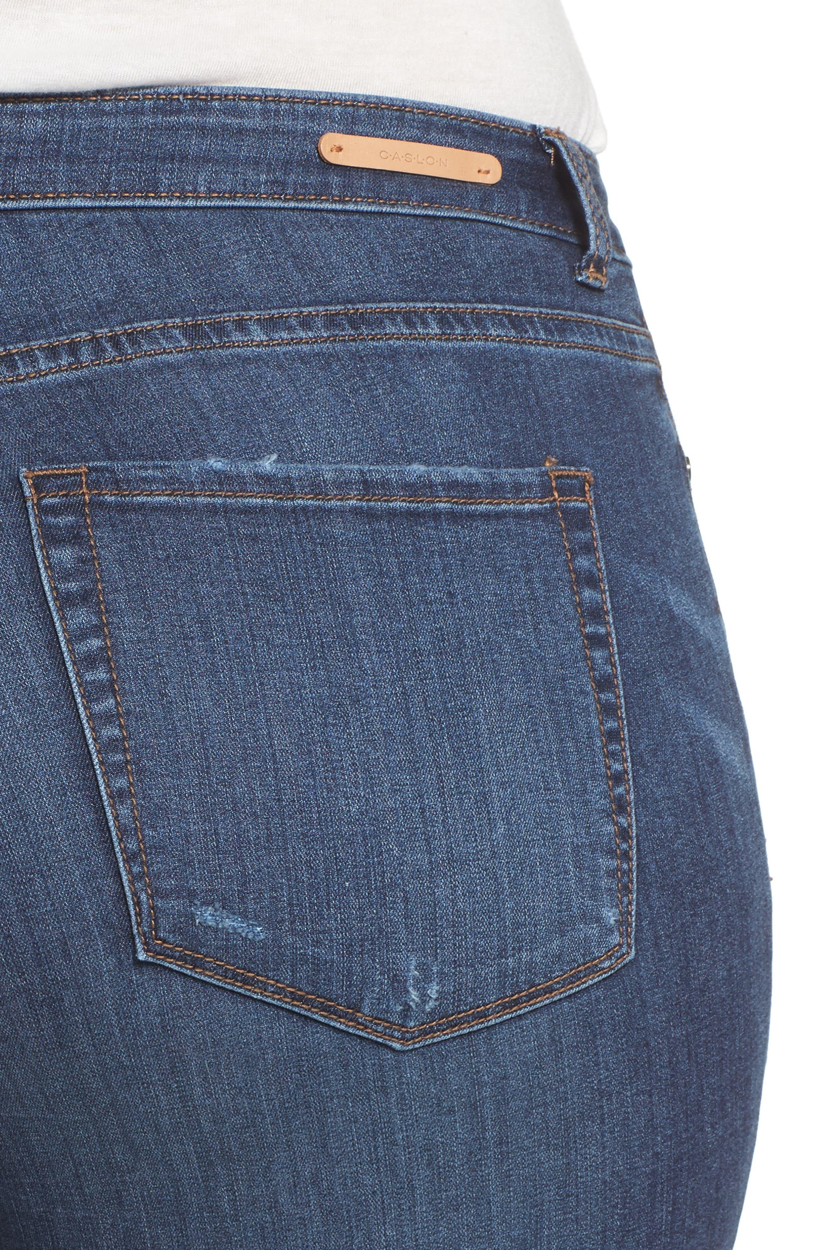 Rip Repair Skinny Jeans,                             Alternate thumbnail 5, color,                             Blue Octavia Wash