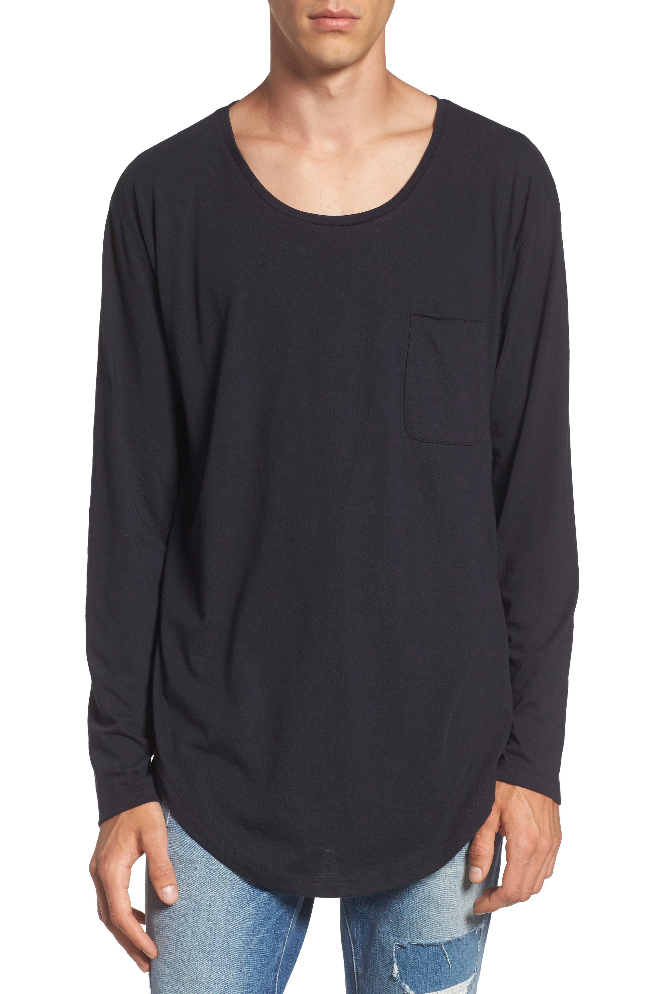 Shirttail T-Shirt,                         Main,                         color, Black Rock