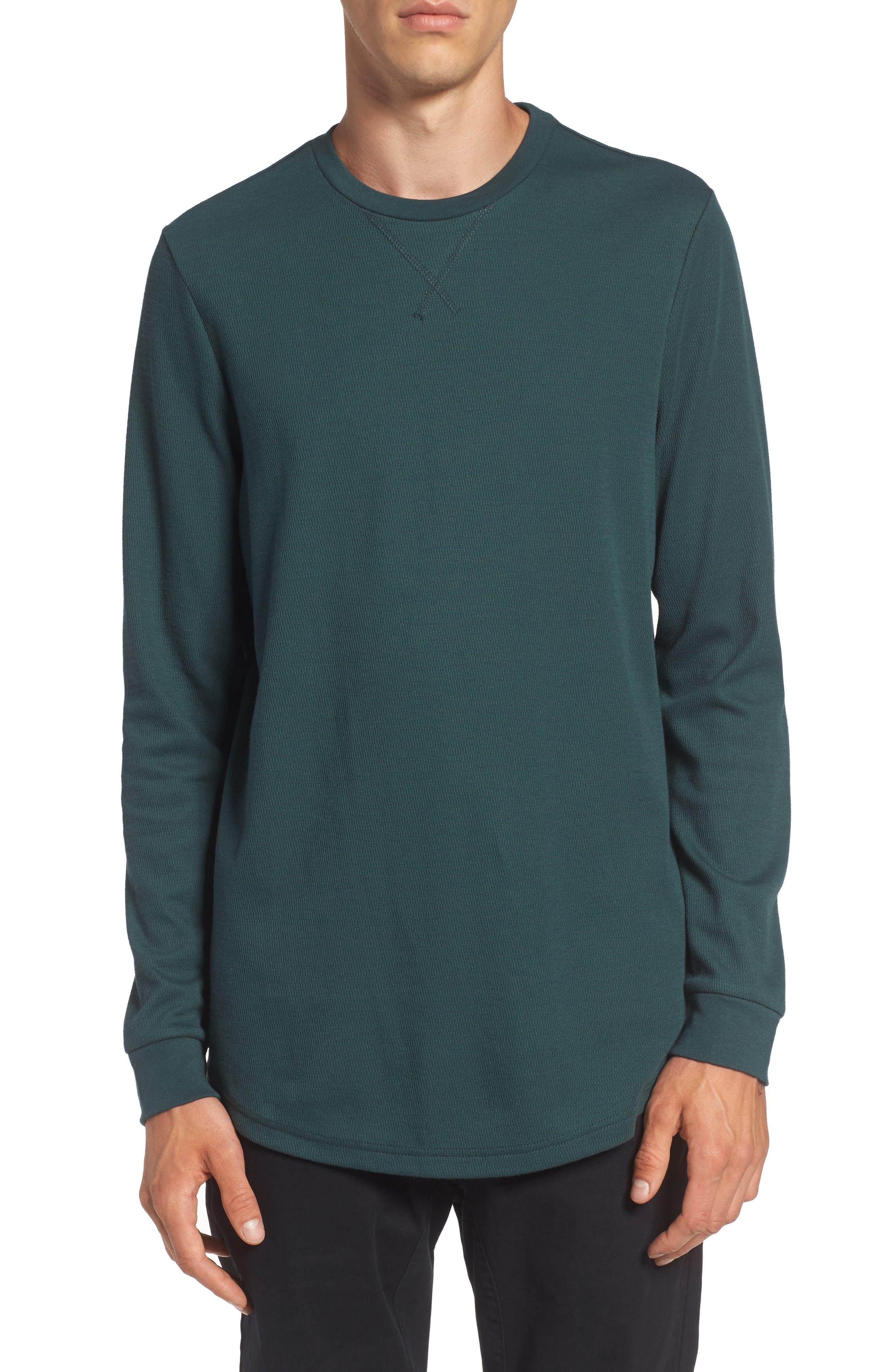 Longline Thermal T-Shirt,                         Main,                         color, Green Gables
