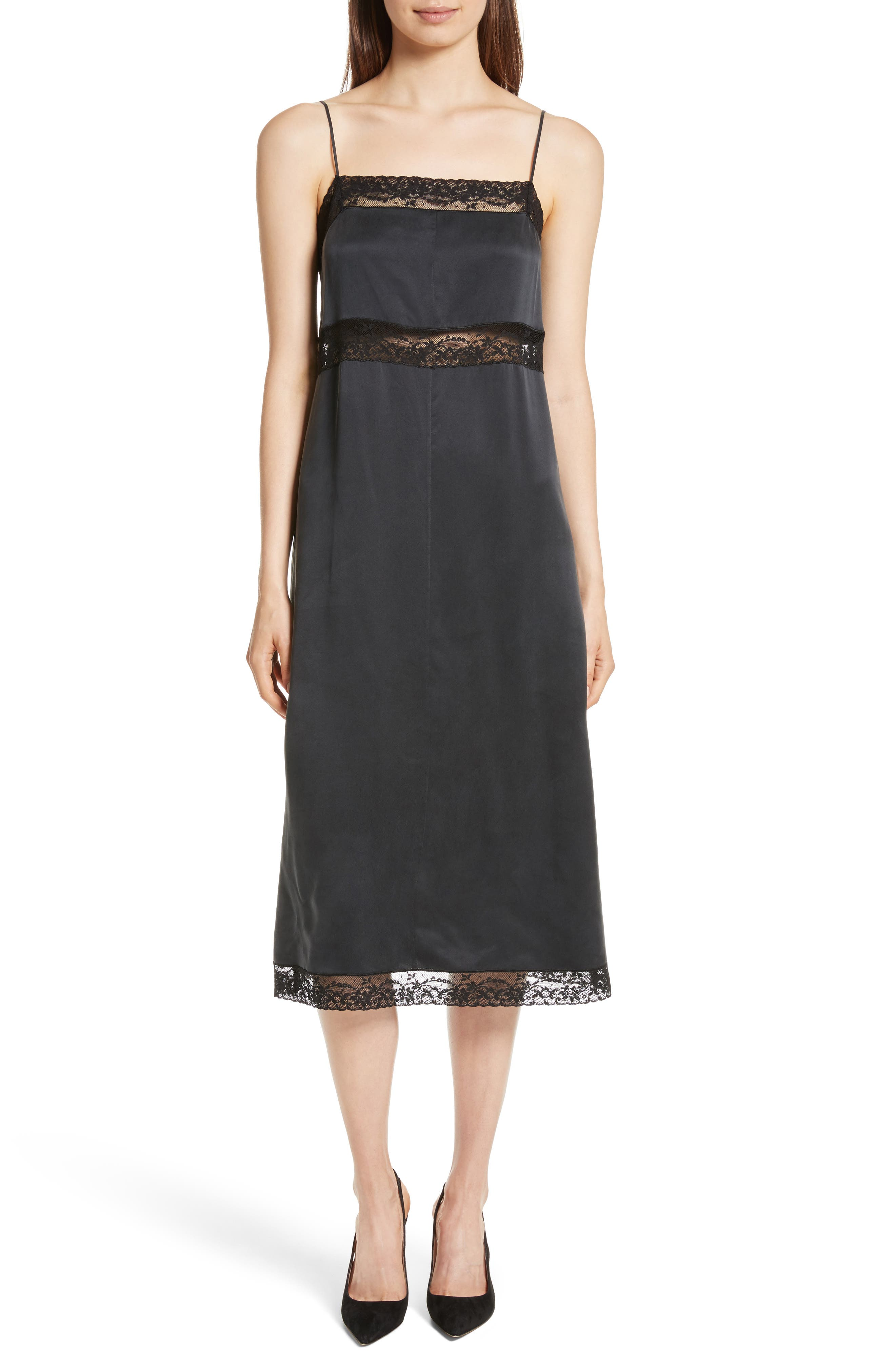 Main Image - Robert Rodriguez Lace Trim Silk Slipdress