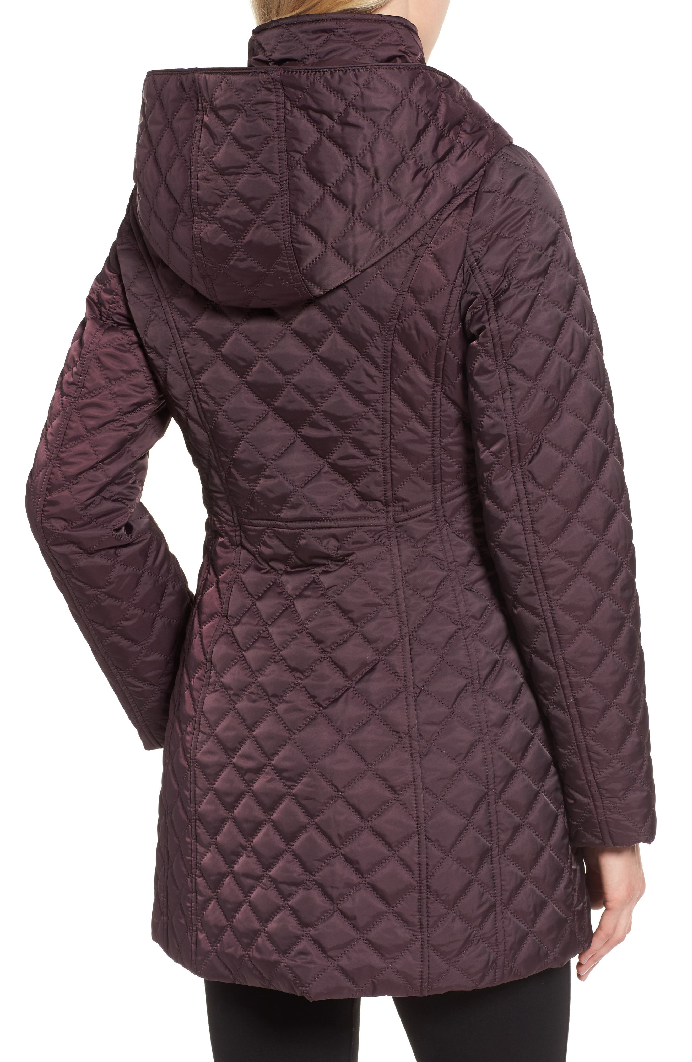 Hooded Quilted Jacket,                             Alternate thumbnail 2, color,                             Claret