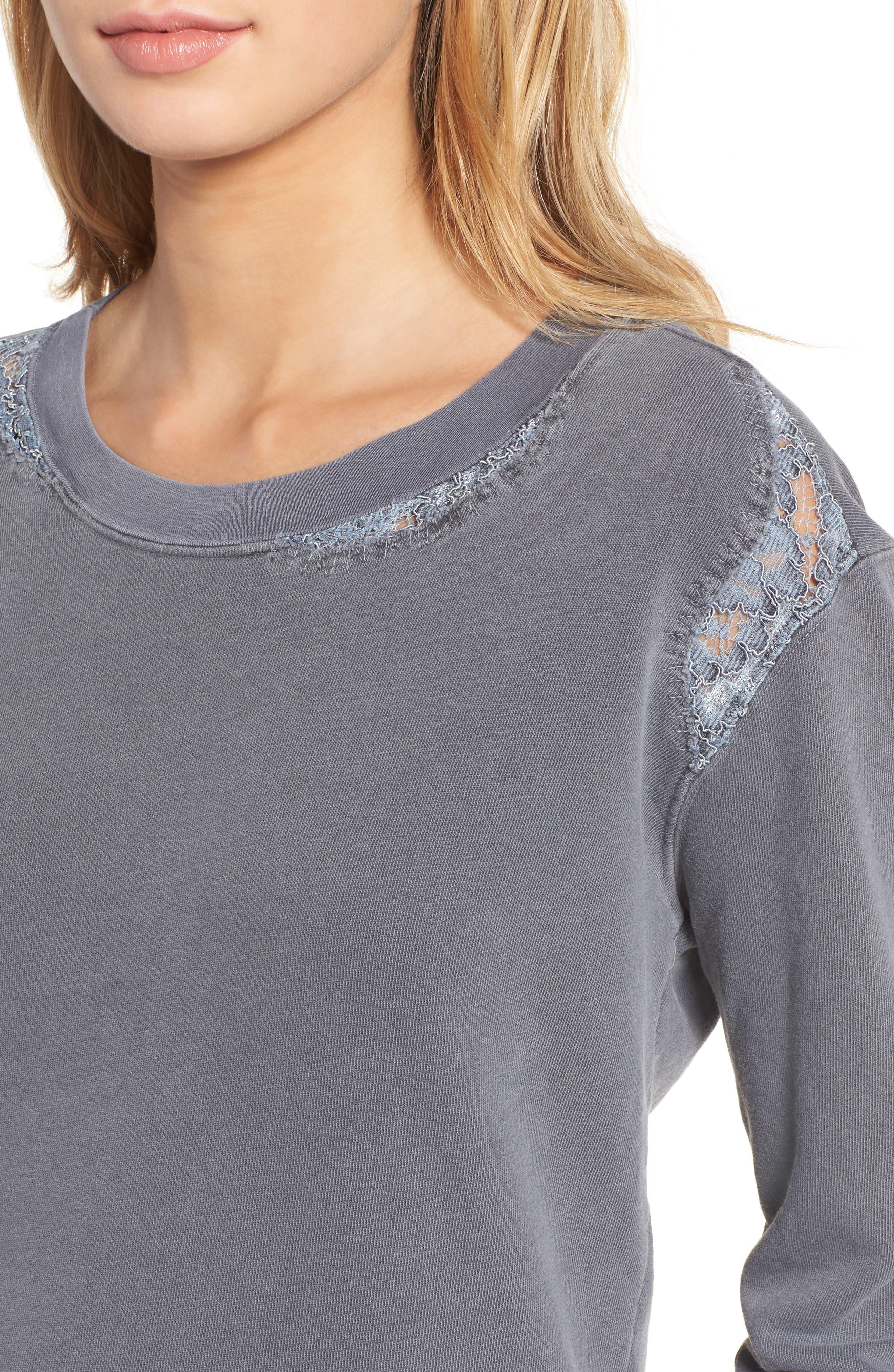 Alternate Image 4  - Stateside Lace Trim Sweatshirt
