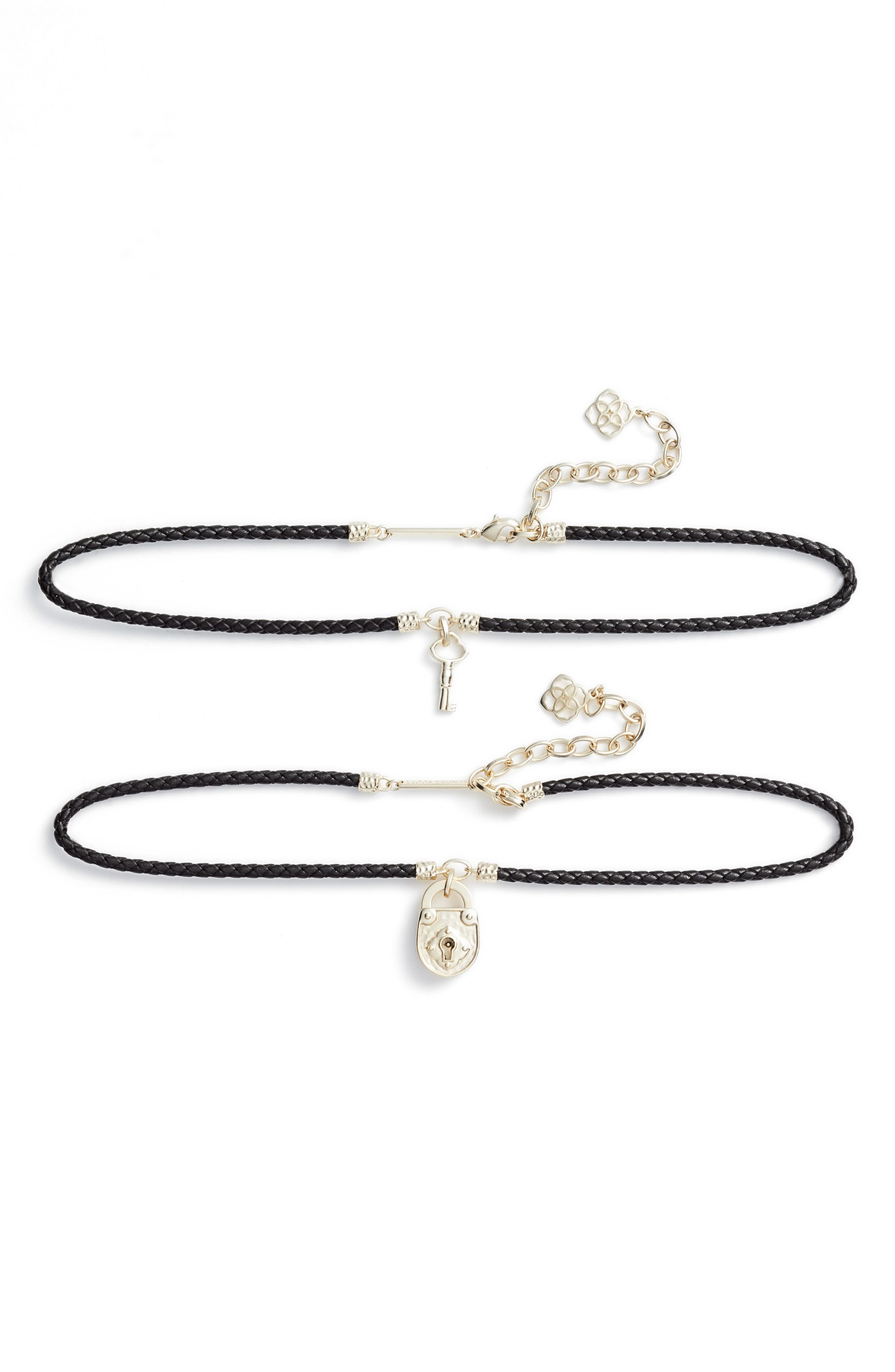Sunny Set of 2 Choker Necklaces,                         Main,                         color, Black Leather/ Gold