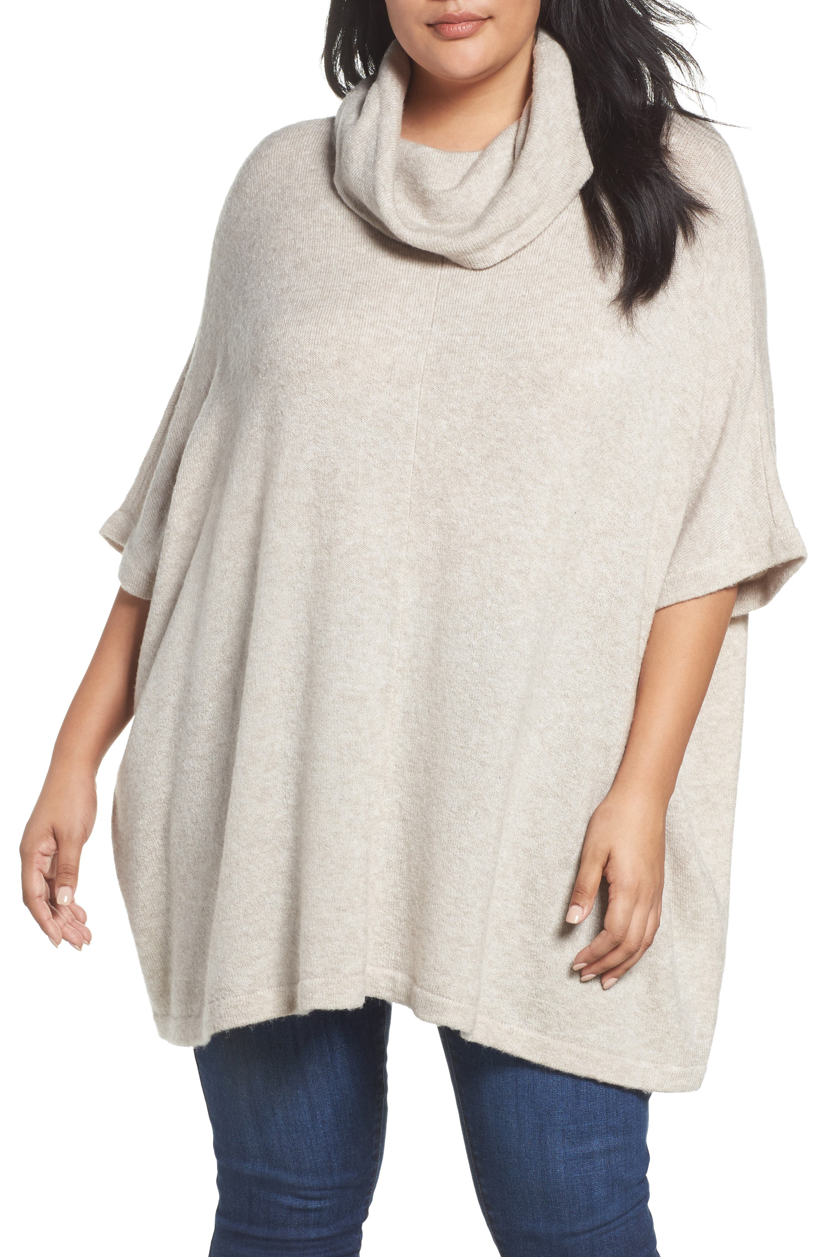 Alternate Image 1 Selected - Caslon® Turtleneck Poncho Sweater (Plus Size)