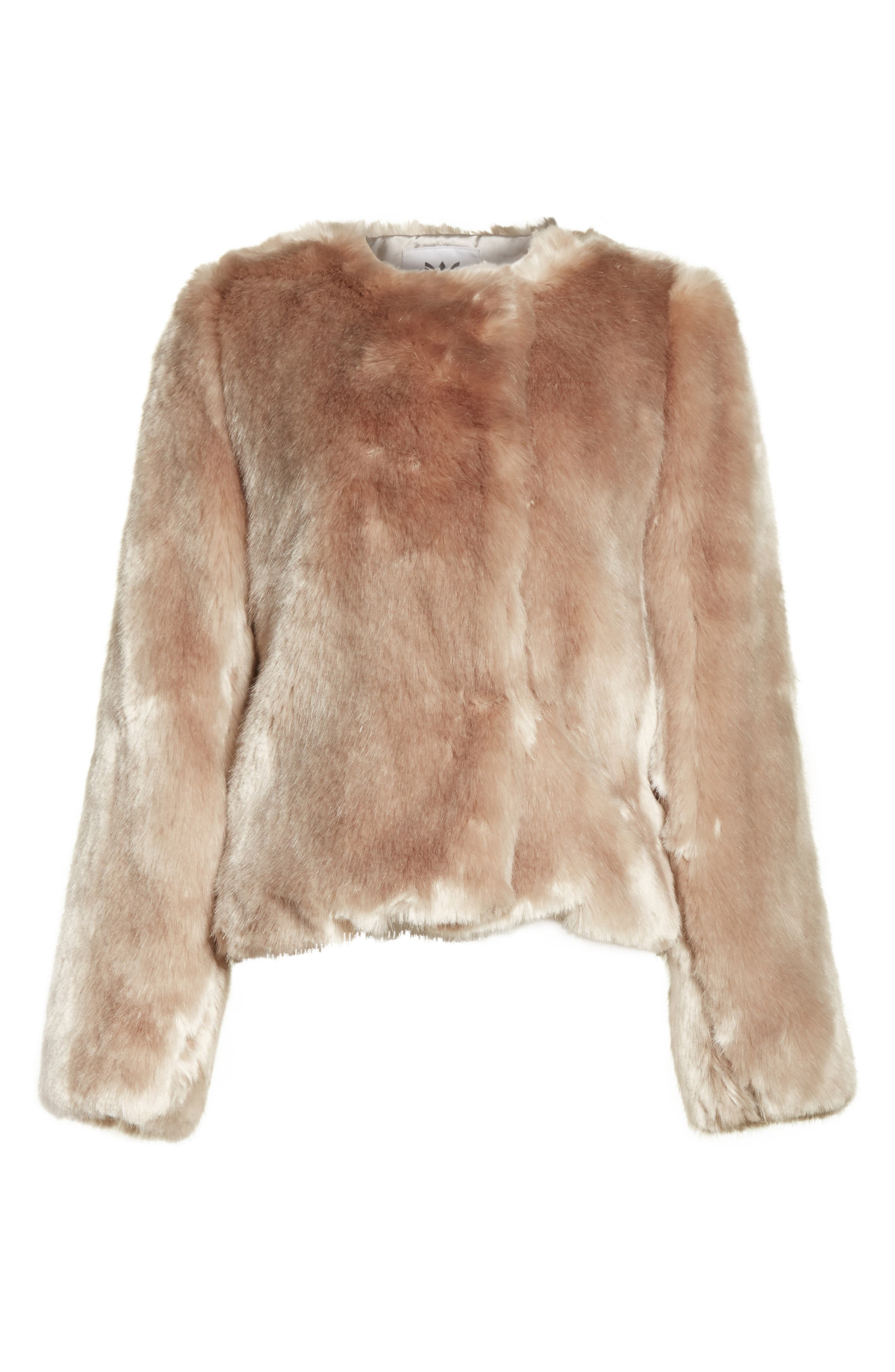 Faux Fur Jacket,                             Alternate thumbnail 6, color,                             Mink