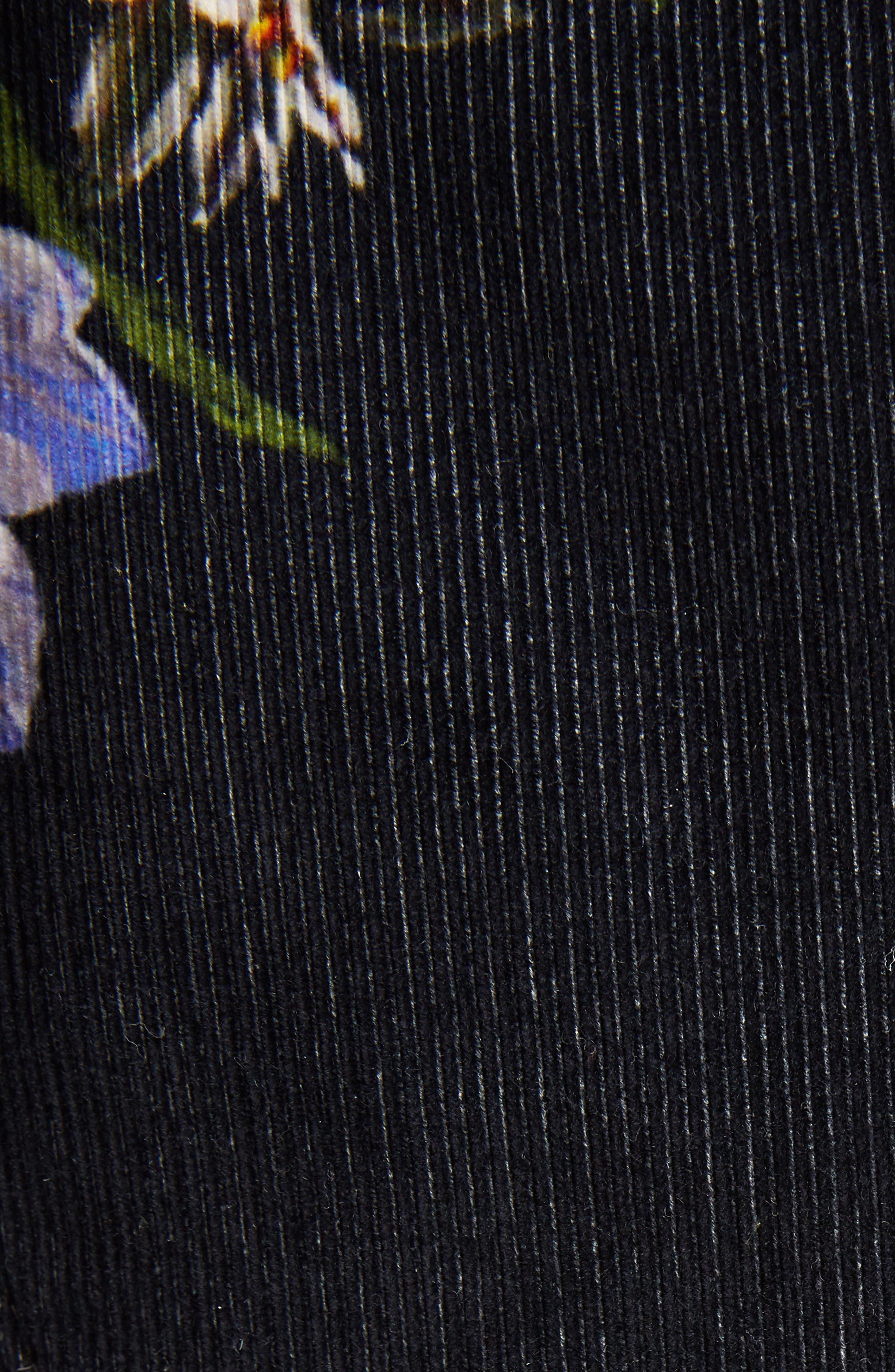 Okki Floral Print Bracelet Sleeve Coat,                             Alternate thumbnail 5, color,                             Big Flower Black