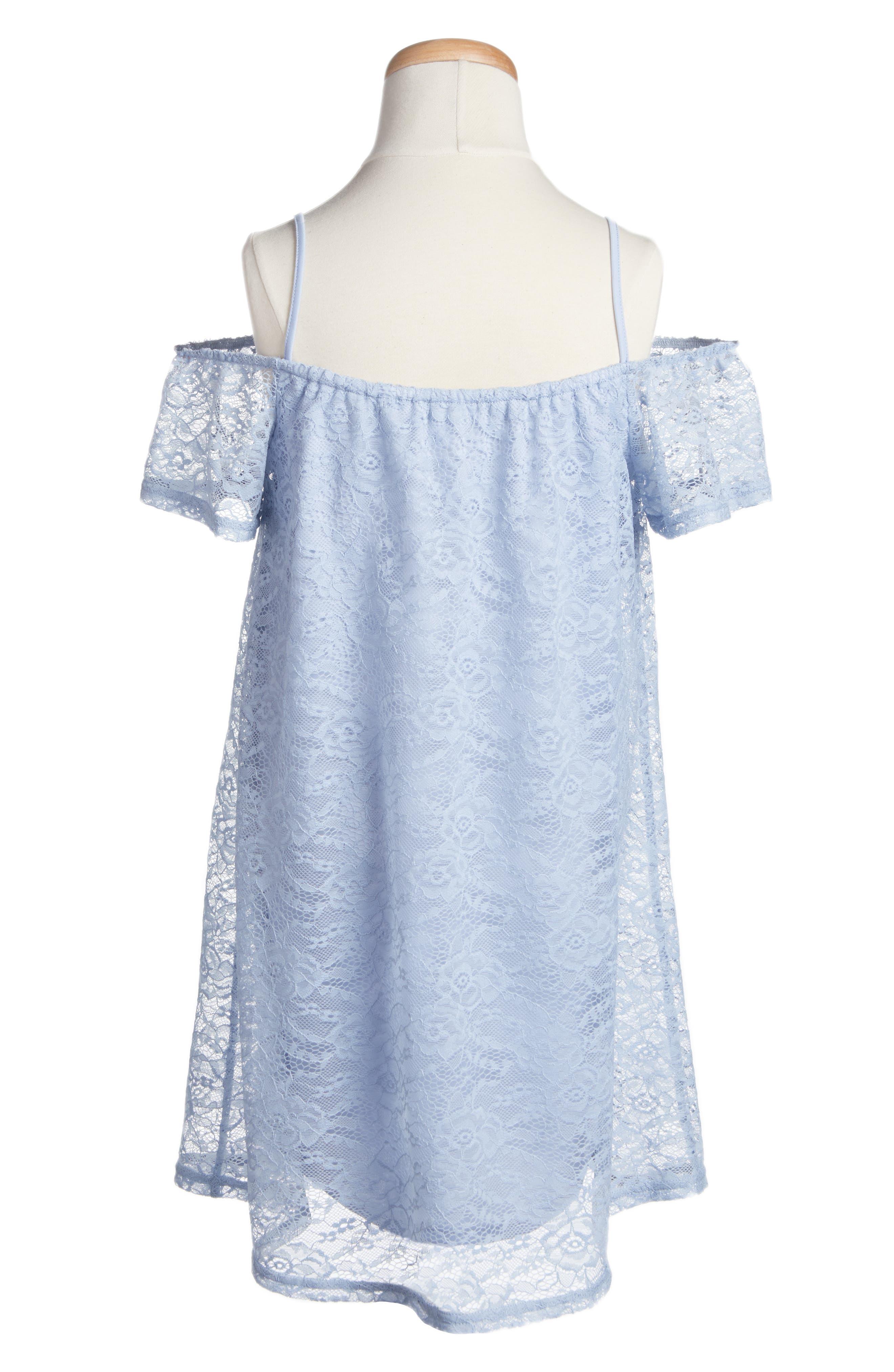 Lace Shift Dress,                             Alternate thumbnail 2, color,                             Zen Blue