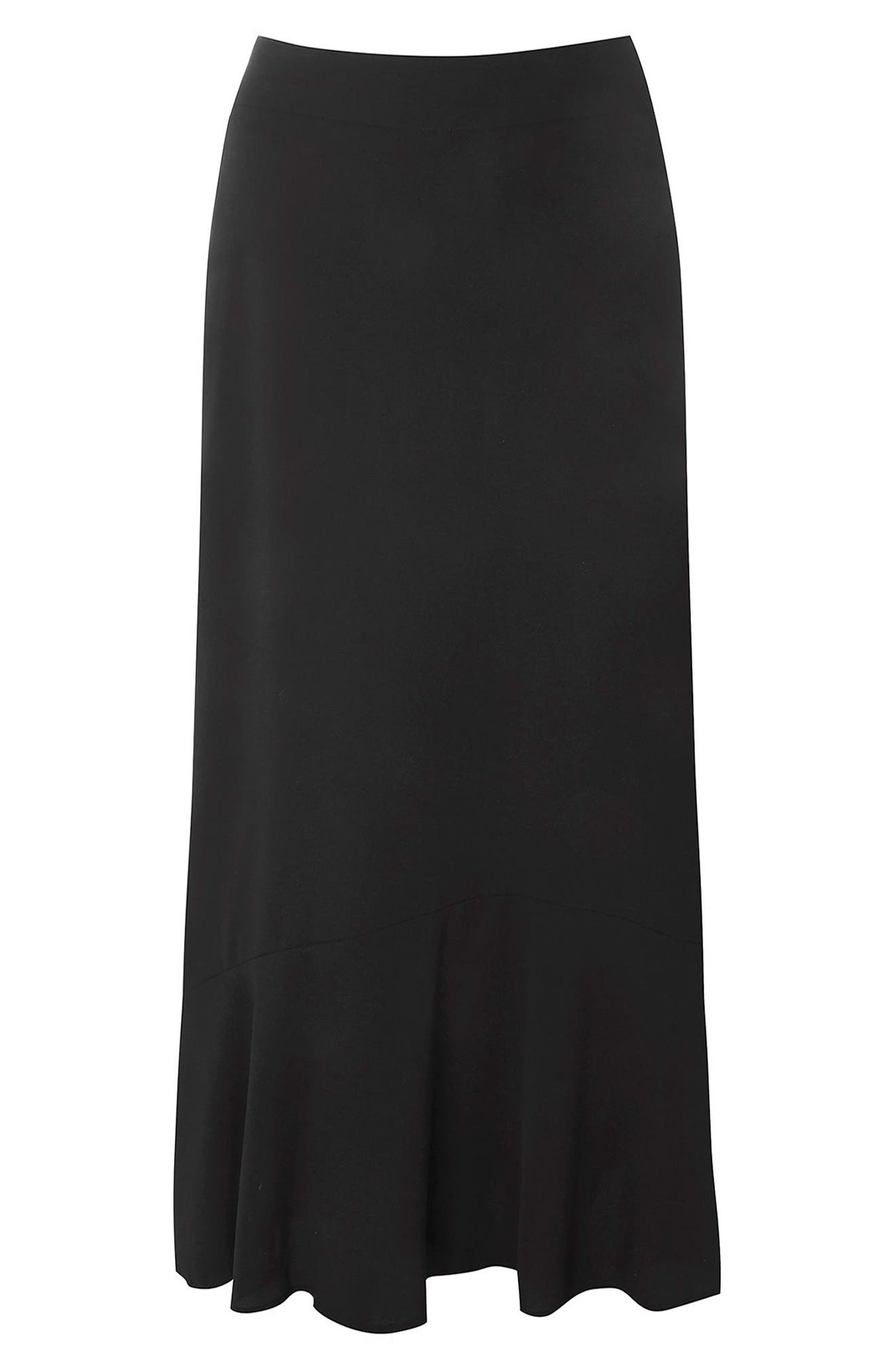 Main Image - Evans Tiered Pebble Crepe Maxi Skirt (Plus Size)