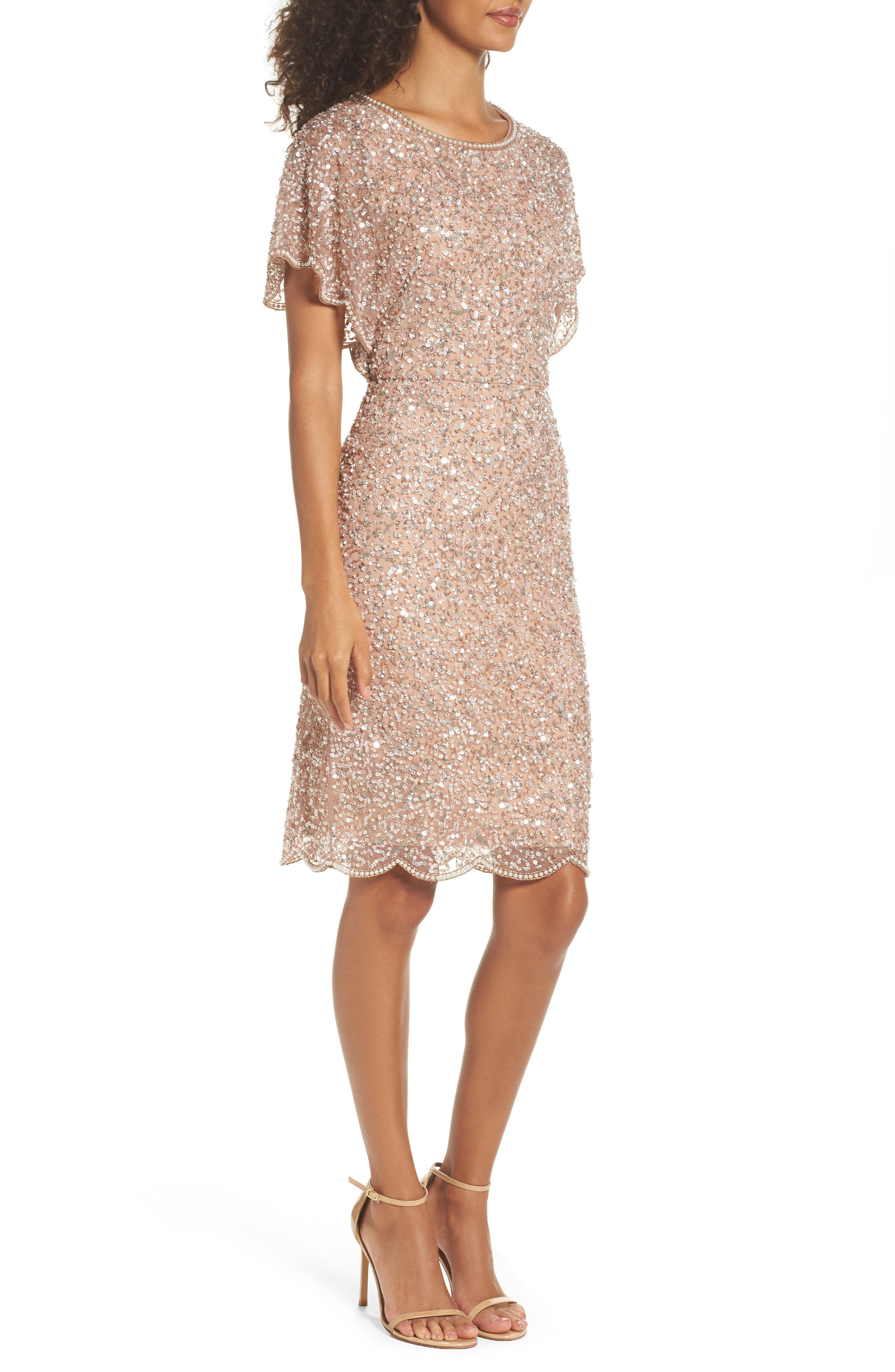 Alternate Image 3  - Adrianna Papell Embellished Flutter Sleeve Cocktail Dress