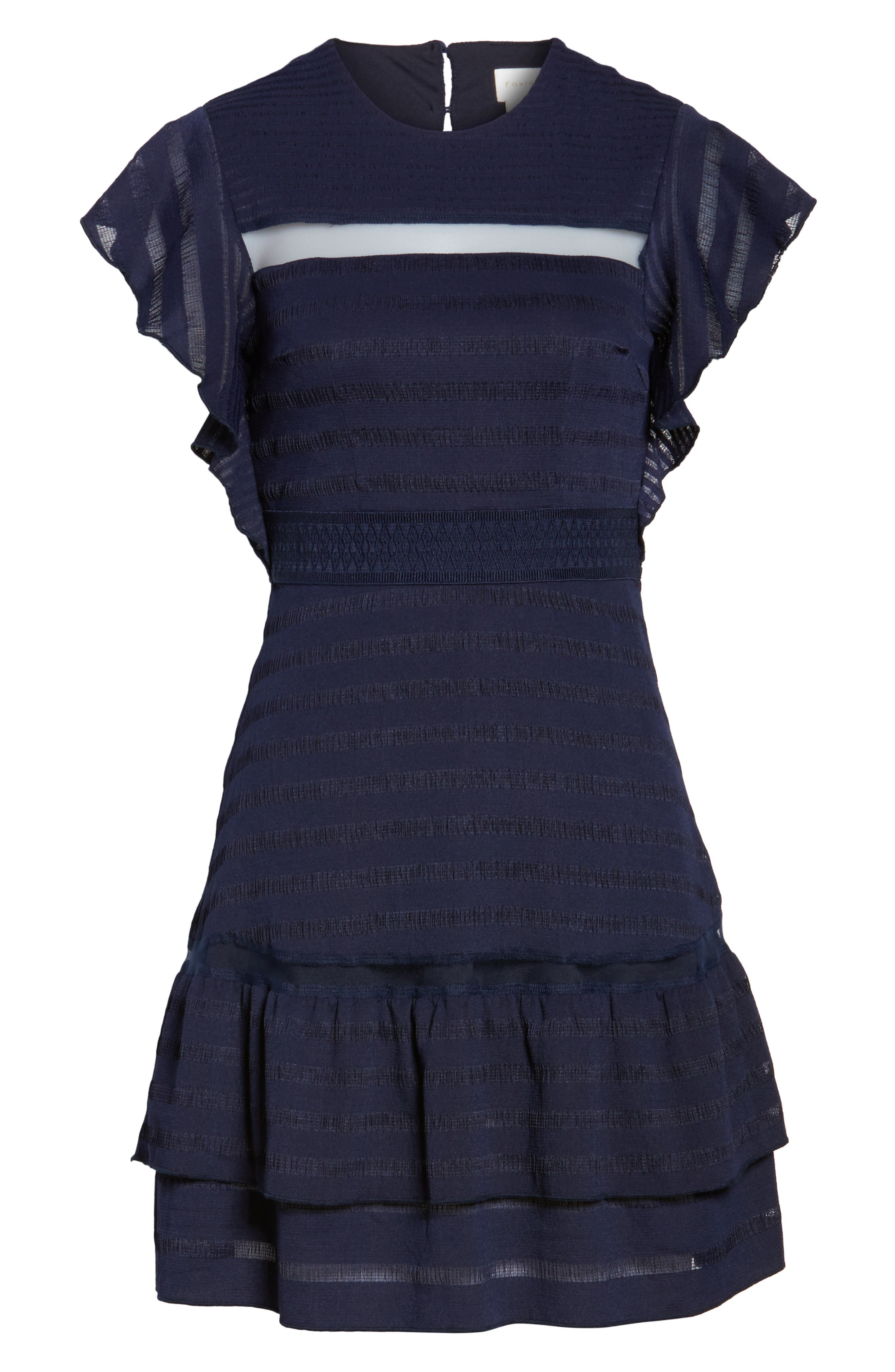 Elsie Ruffle Sleeve Fit & Flare Dress,                             Alternate thumbnail 6, color,                             Navy