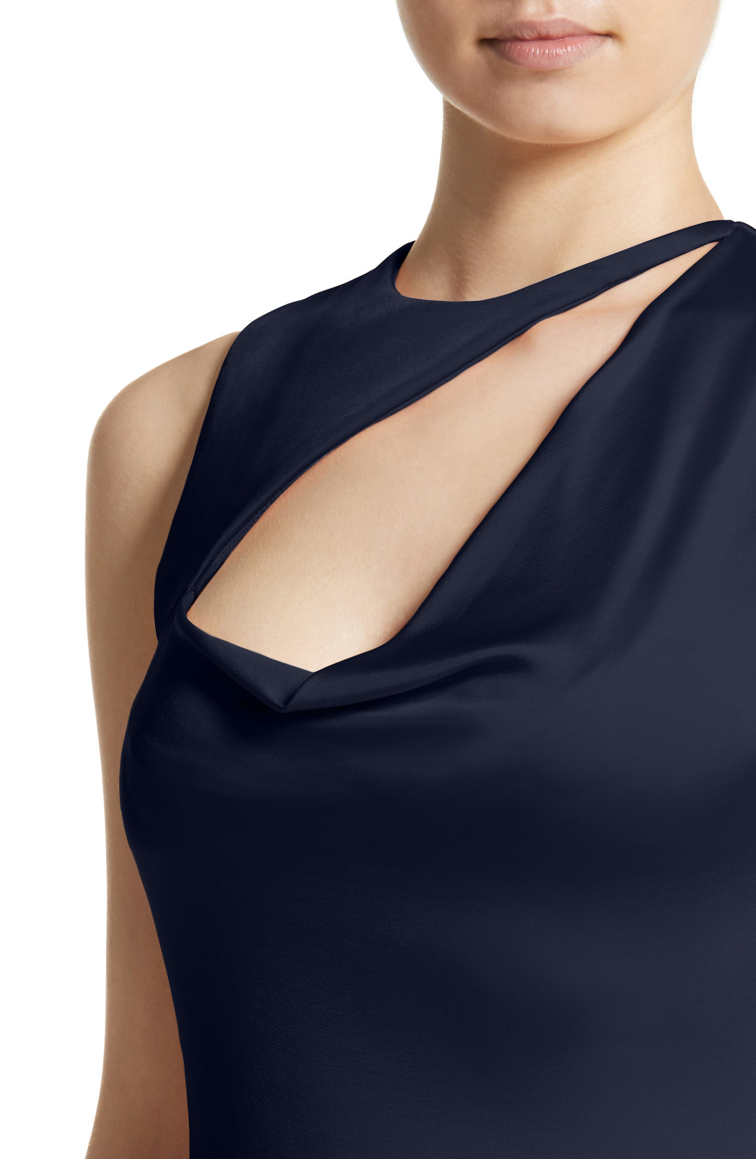 Asymmetrical Cowl Neck Pencil Dress,                             Alternate thumbnail 4, color,                             Midnight