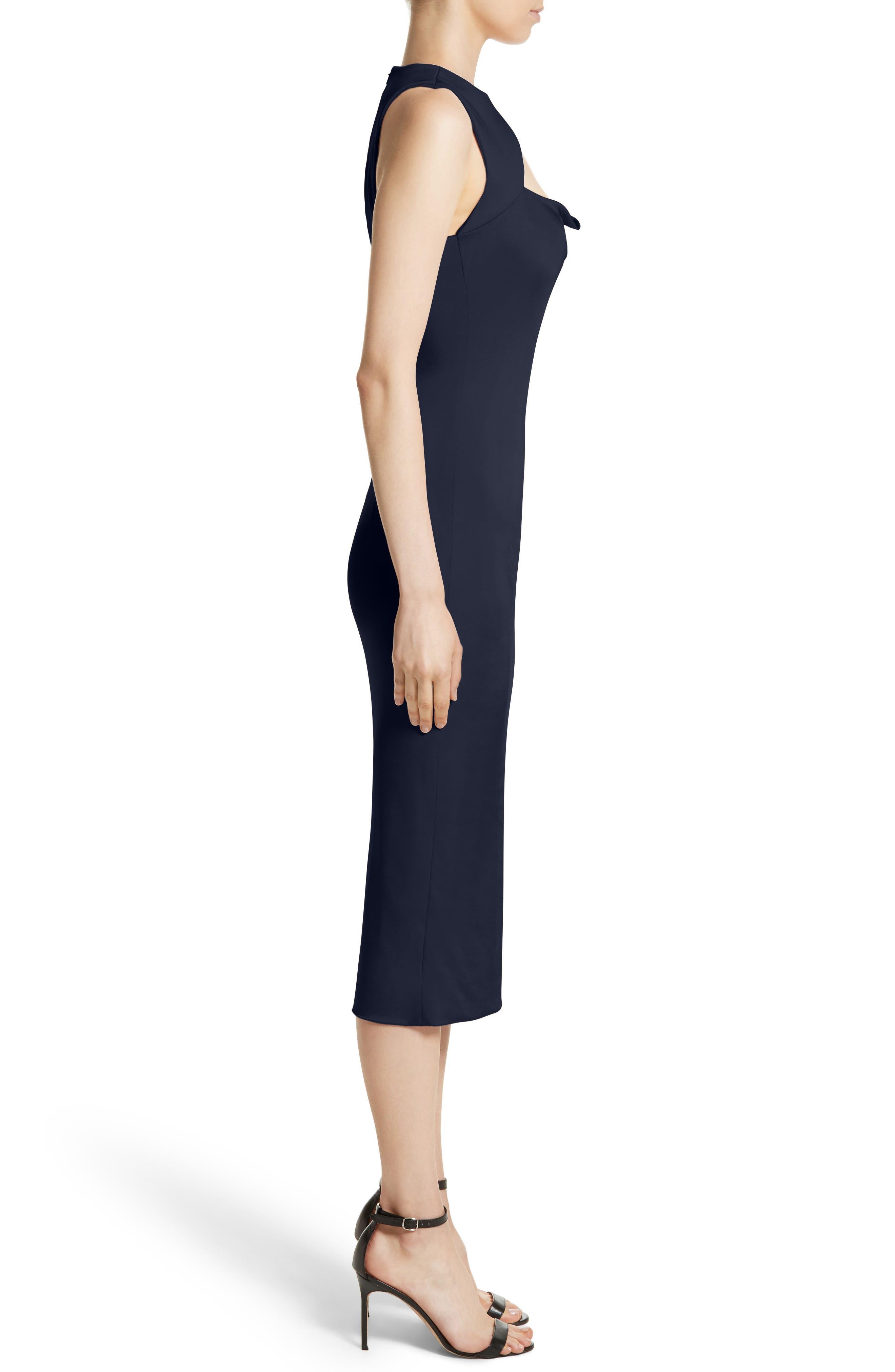 Asymmetrical Cowl Neck Pencil Dress,                             Alternate thumbnail 3, color,                             Midnight
