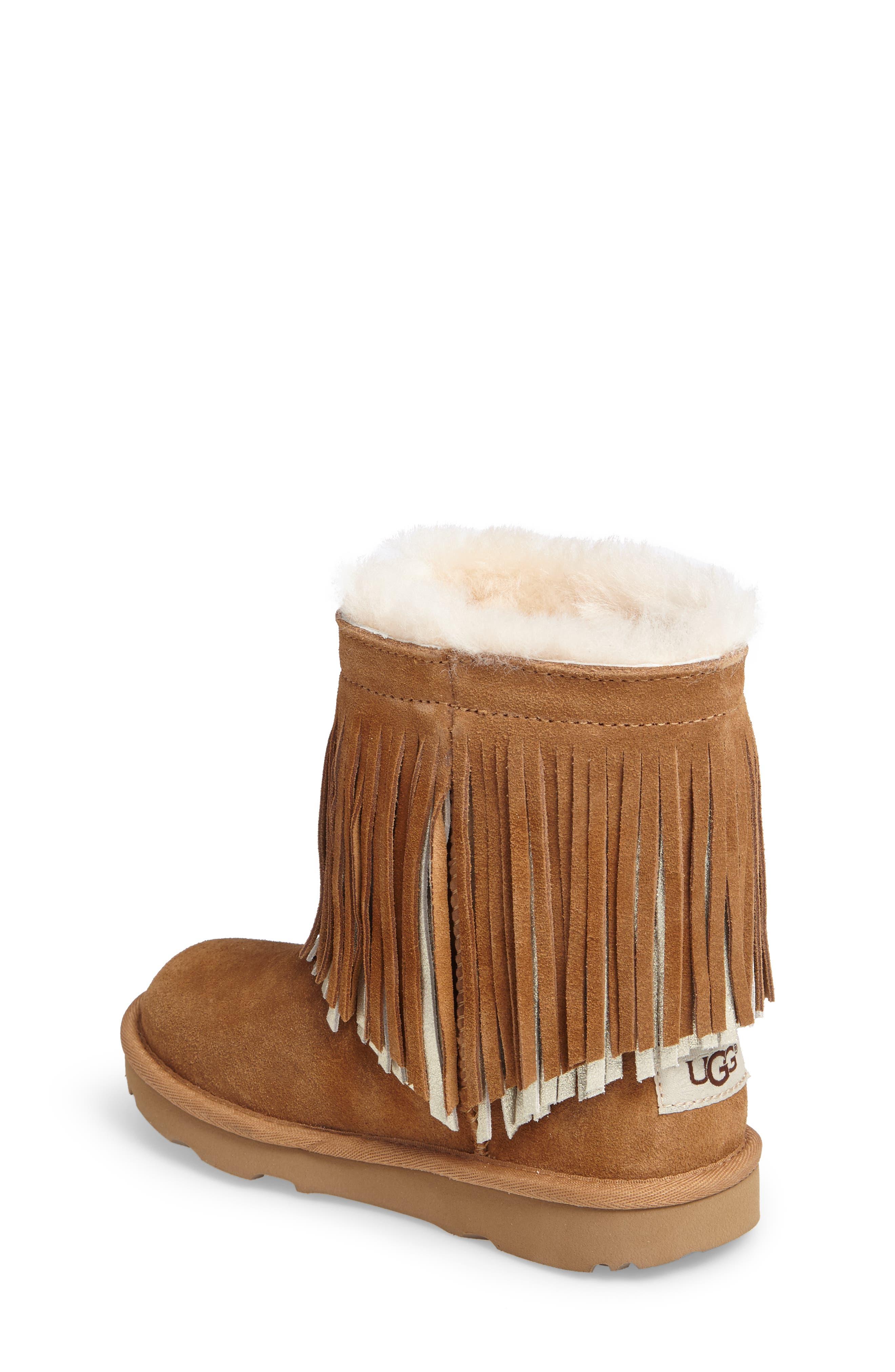Alternate Image 2  - UGG® Classic II Short Fringe Water Resistant Genuine Shearling Boot (Walker, Toddler, Little Kid & Big Kid)