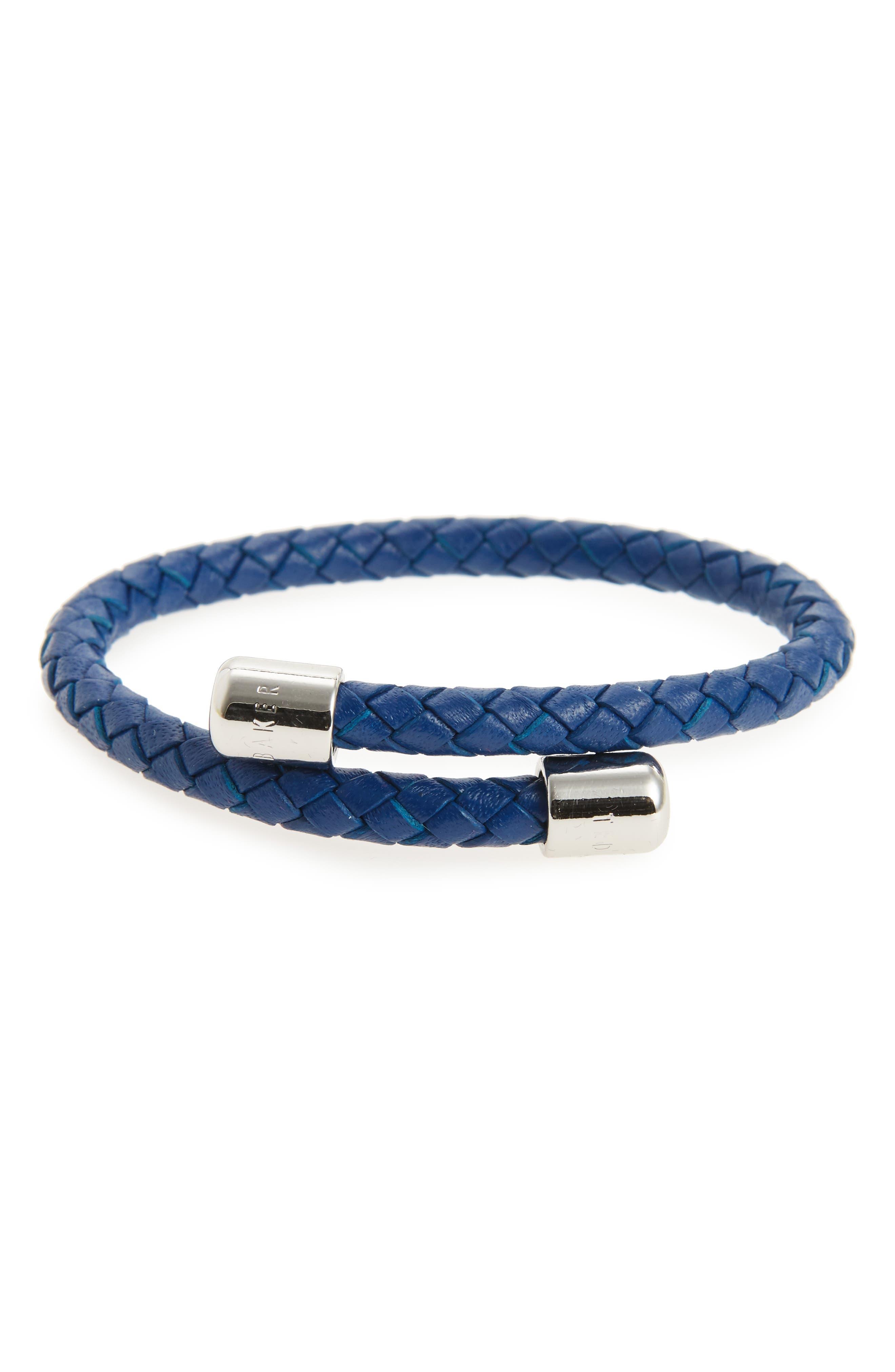 Bassett Braided Leather Bracelet,                         Main,                         color, Navy