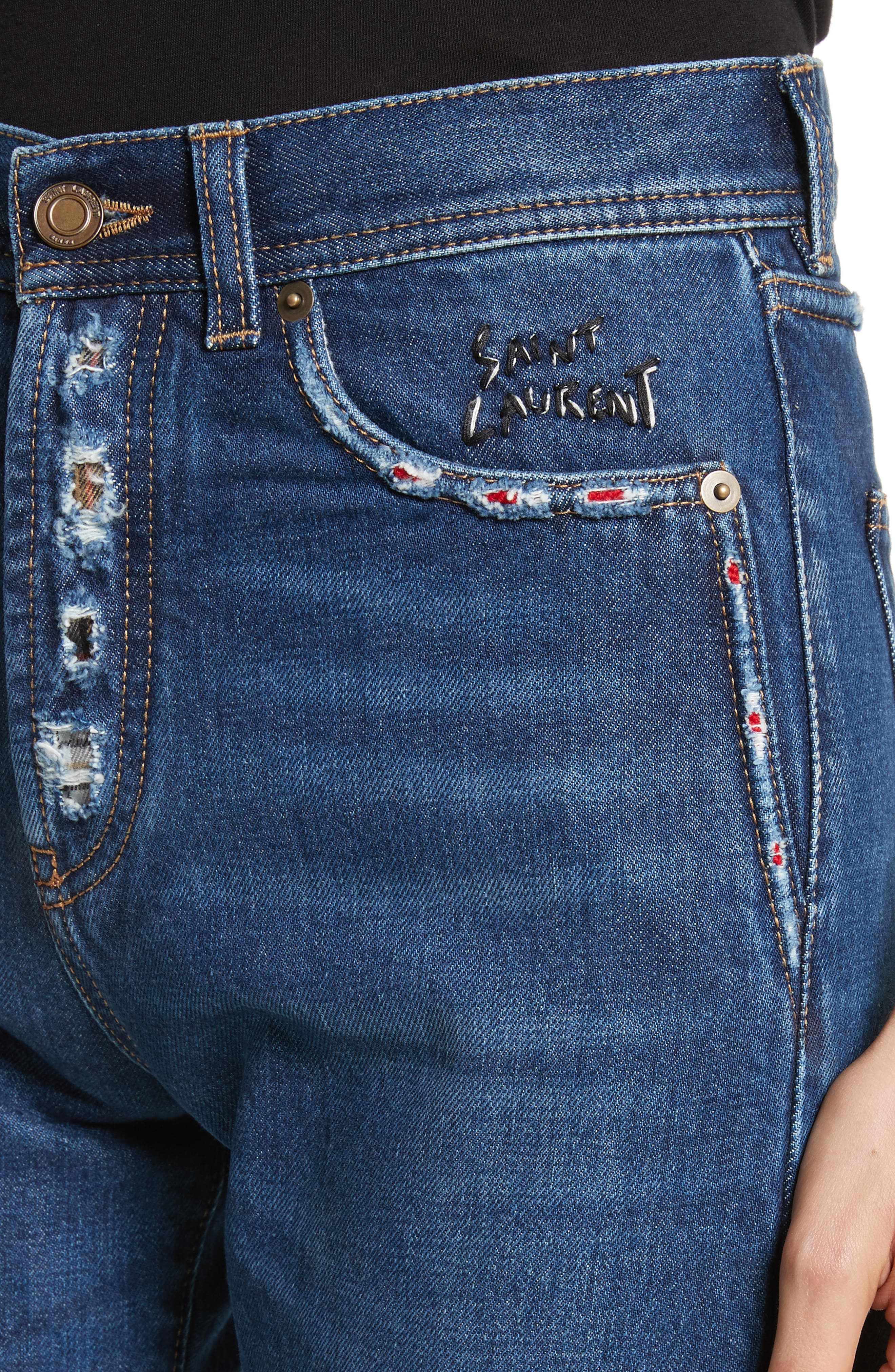 Alternate Image 4  - Saint Laurent Embroidered Jeans (Deep Dark Blue)