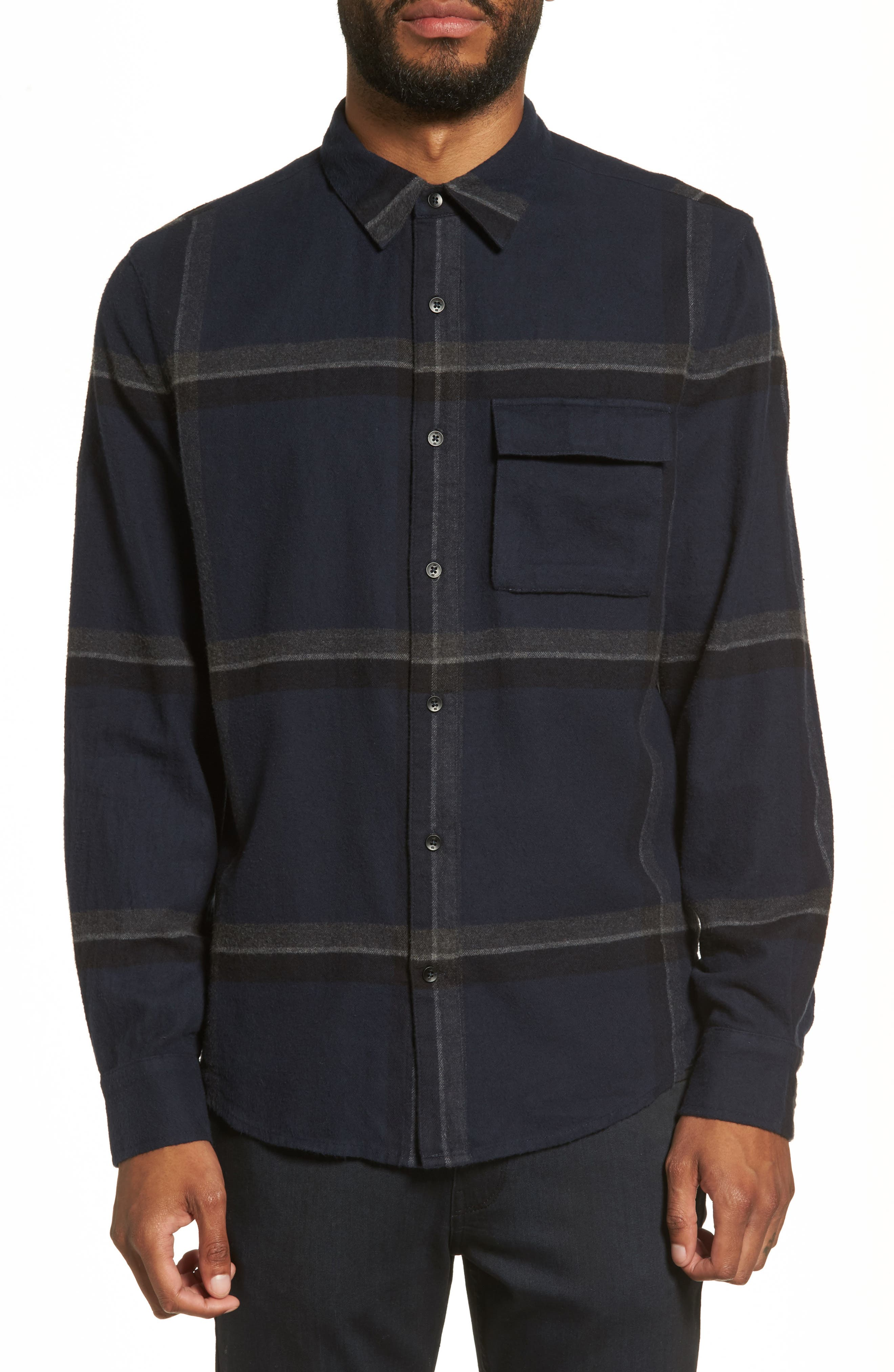 Bellowed Plaid Classic Shirt,                         Main,                         color, Faded Ink Plaid