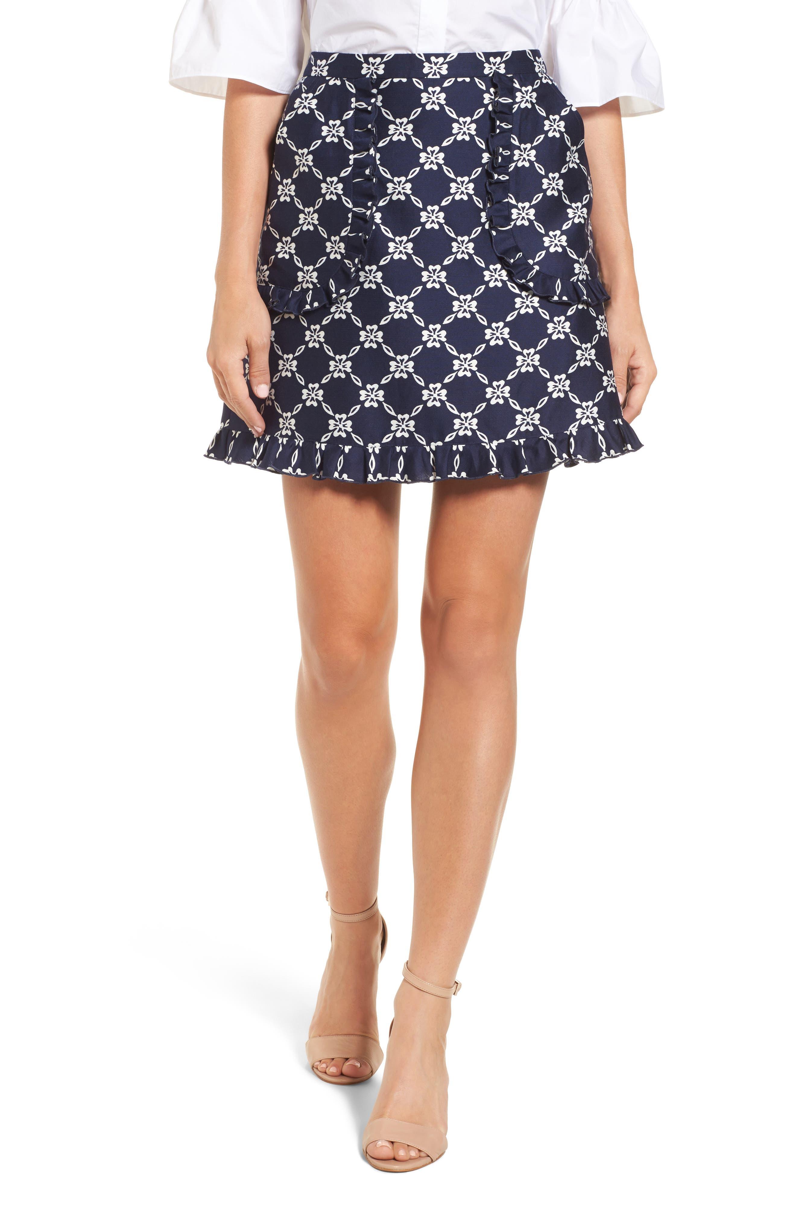 Draper James Floral Lattice Ruffle Skirt