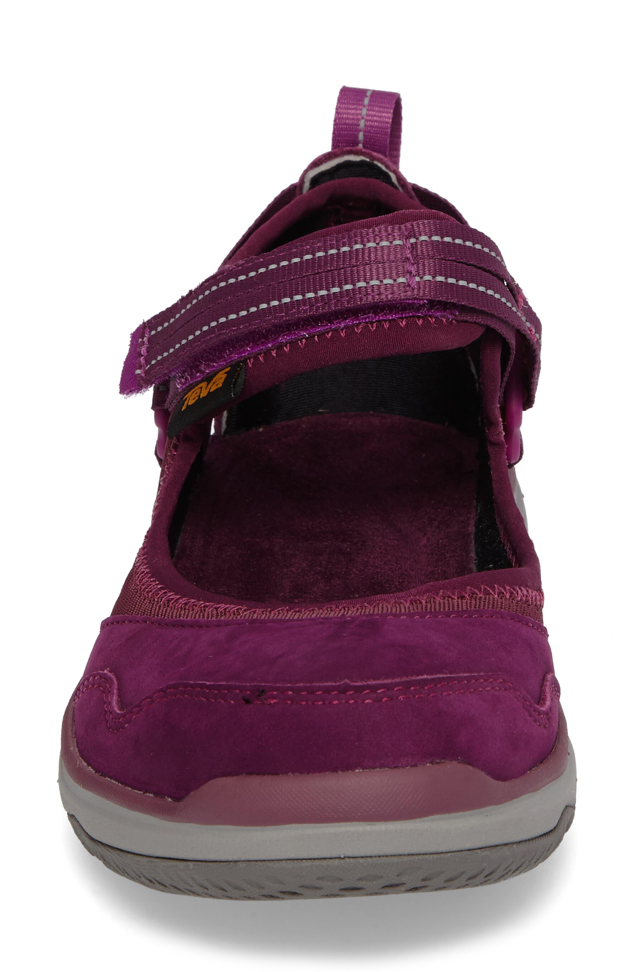 Terra Float Travel Mary Jane Flat,                             Alternate thumbnail 4, color,                             Dark Purple Leather